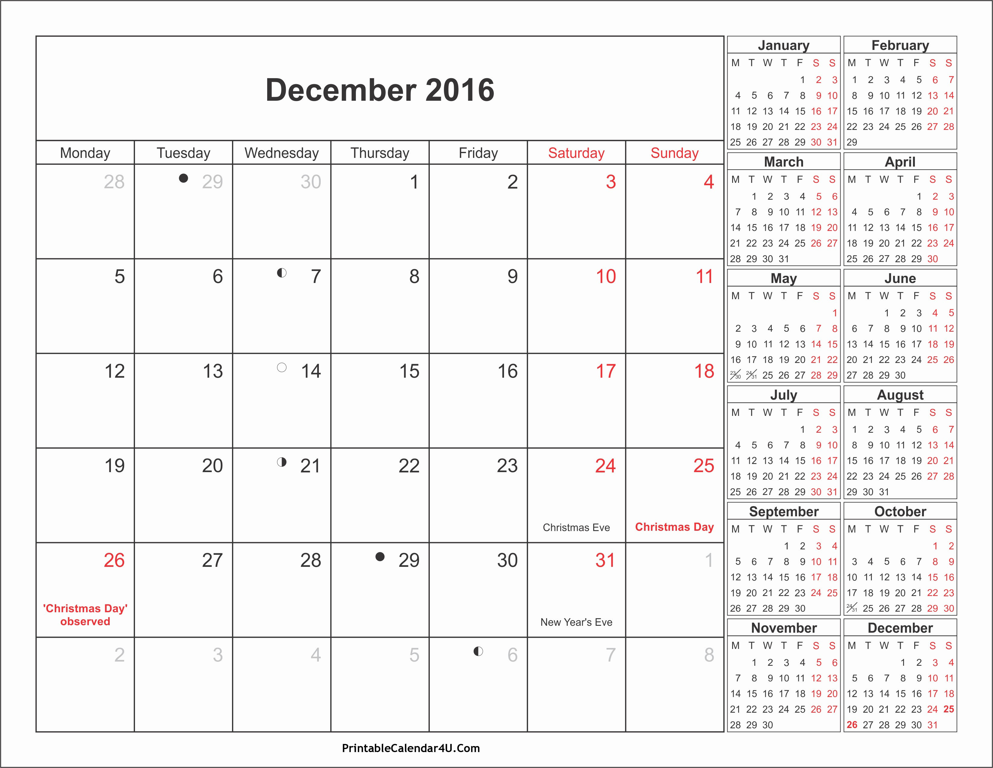 Printable 2016 Calendars with Holidays Best Of December 2016 Calendar Printable with Holidays Pdf and Jpg