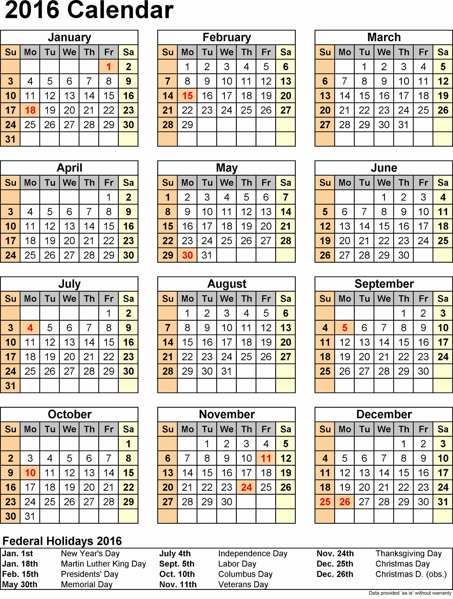 Printable 2016 Calendars with Holidays Elegant 2016 Yearly Calendars with Holidays