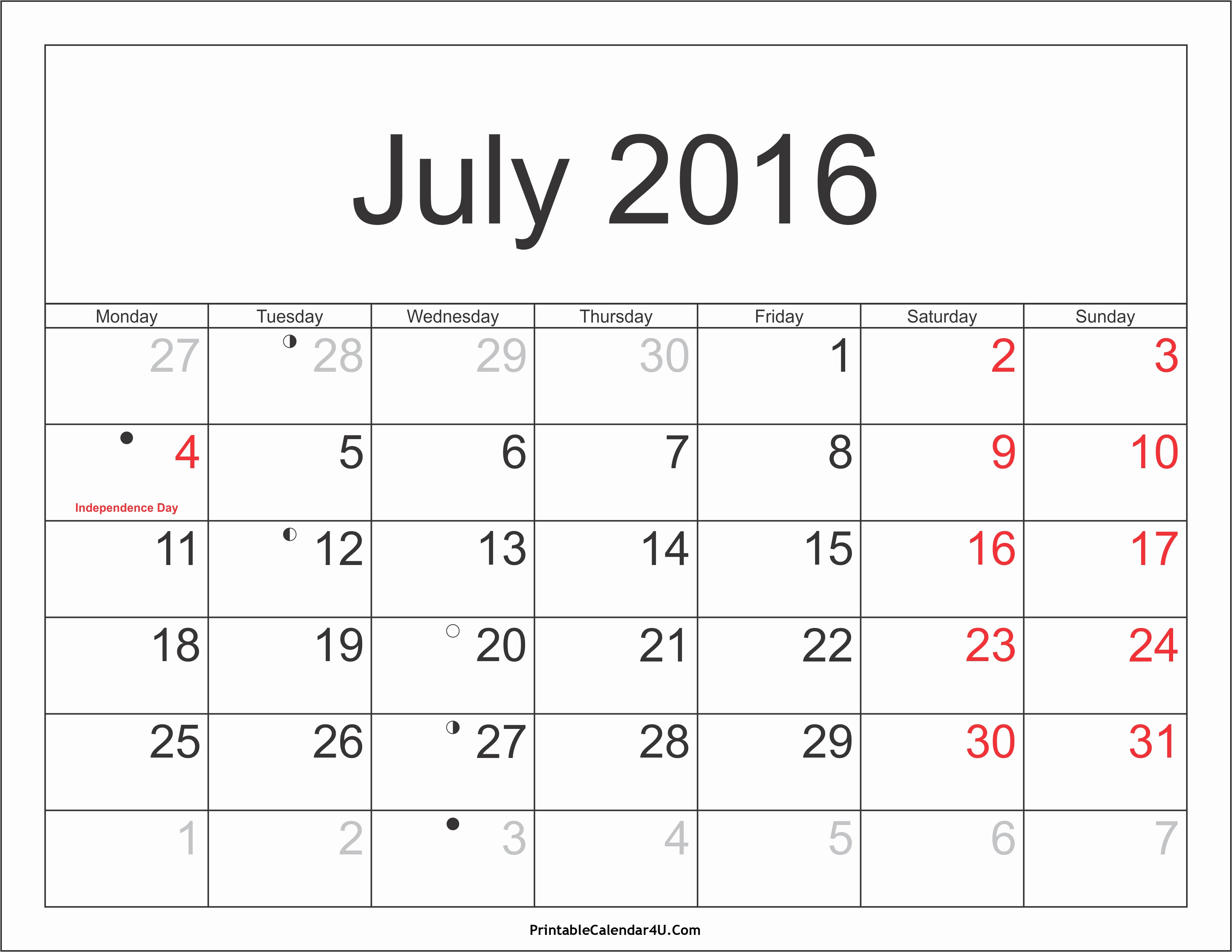 Printable 2016 Calendars with Holidays Elegant July 2016 Calendar Printable with Holidays Pdf and Jpg