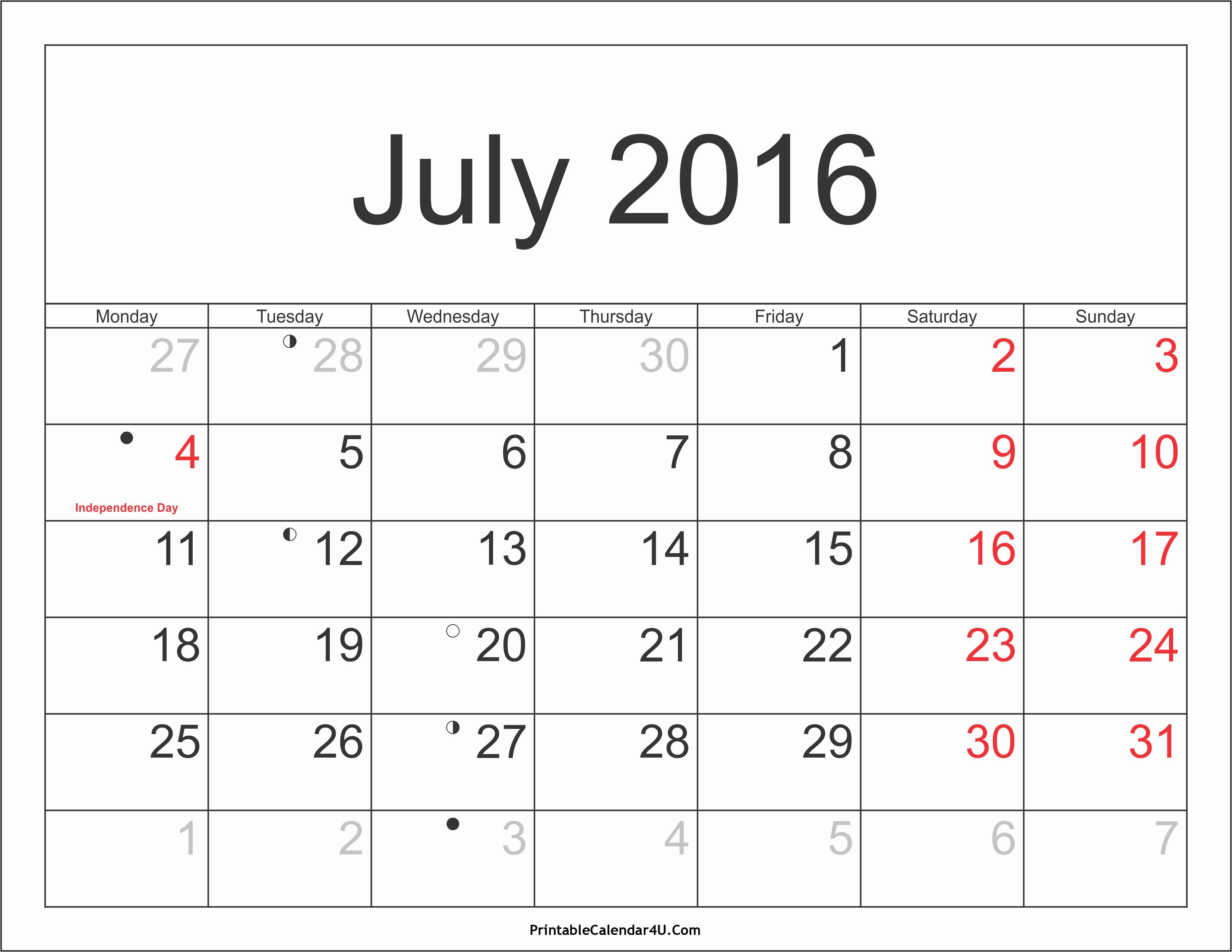 Printable 2016 Calendars with Holidays Elegant July 2016 Calendar Printable with Holidays Pdf and Jpg