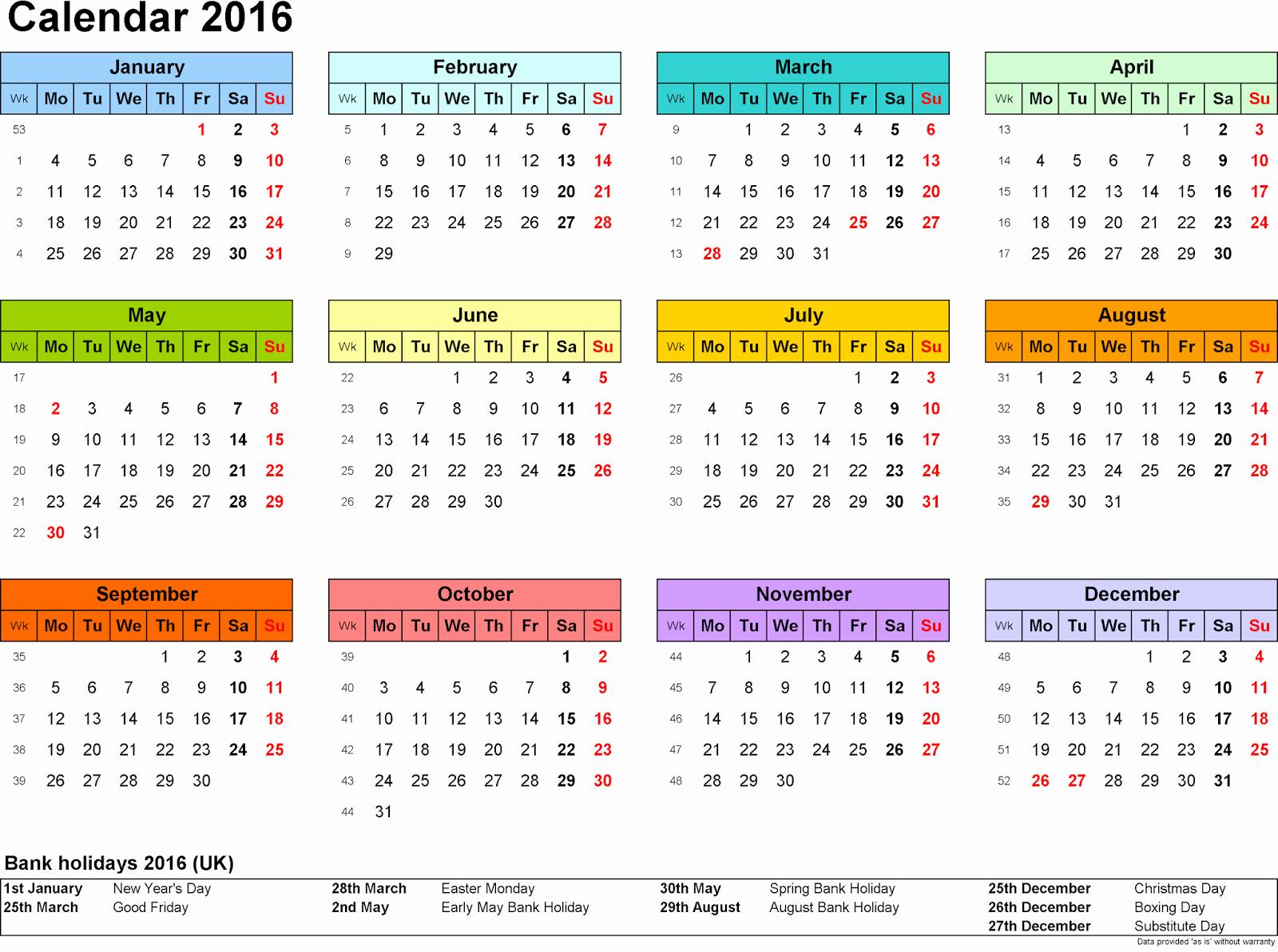 Printable 2016 Calendars with Holidays Fresh 2016 Calendar with Federal & Bank Holidays