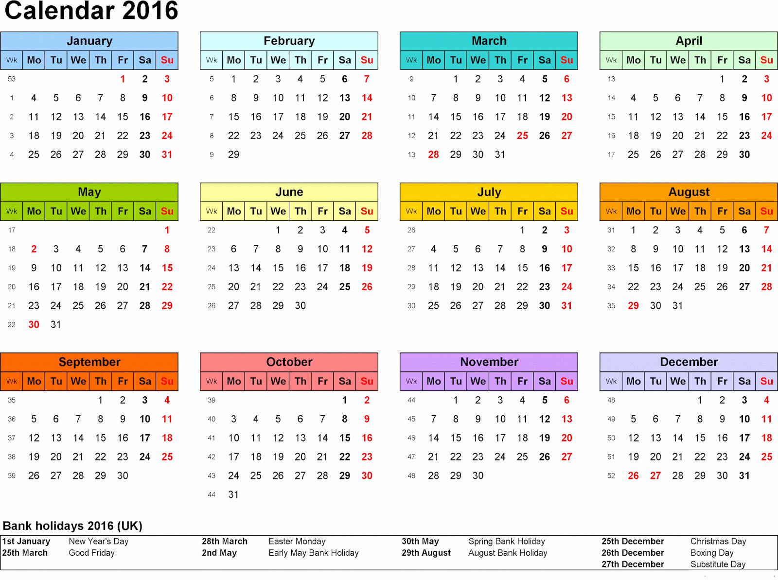 Printable 2016 Calendars with Holidays Fresh [free] Printable Calendar Templates 2016