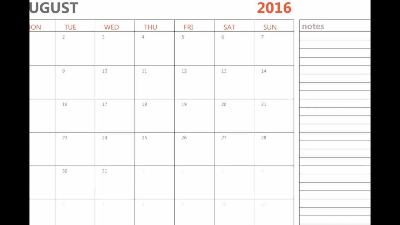 Printable 2016 Calendars with Holidays Luxury Printable August 2016 Calendar with Holidays and Notes