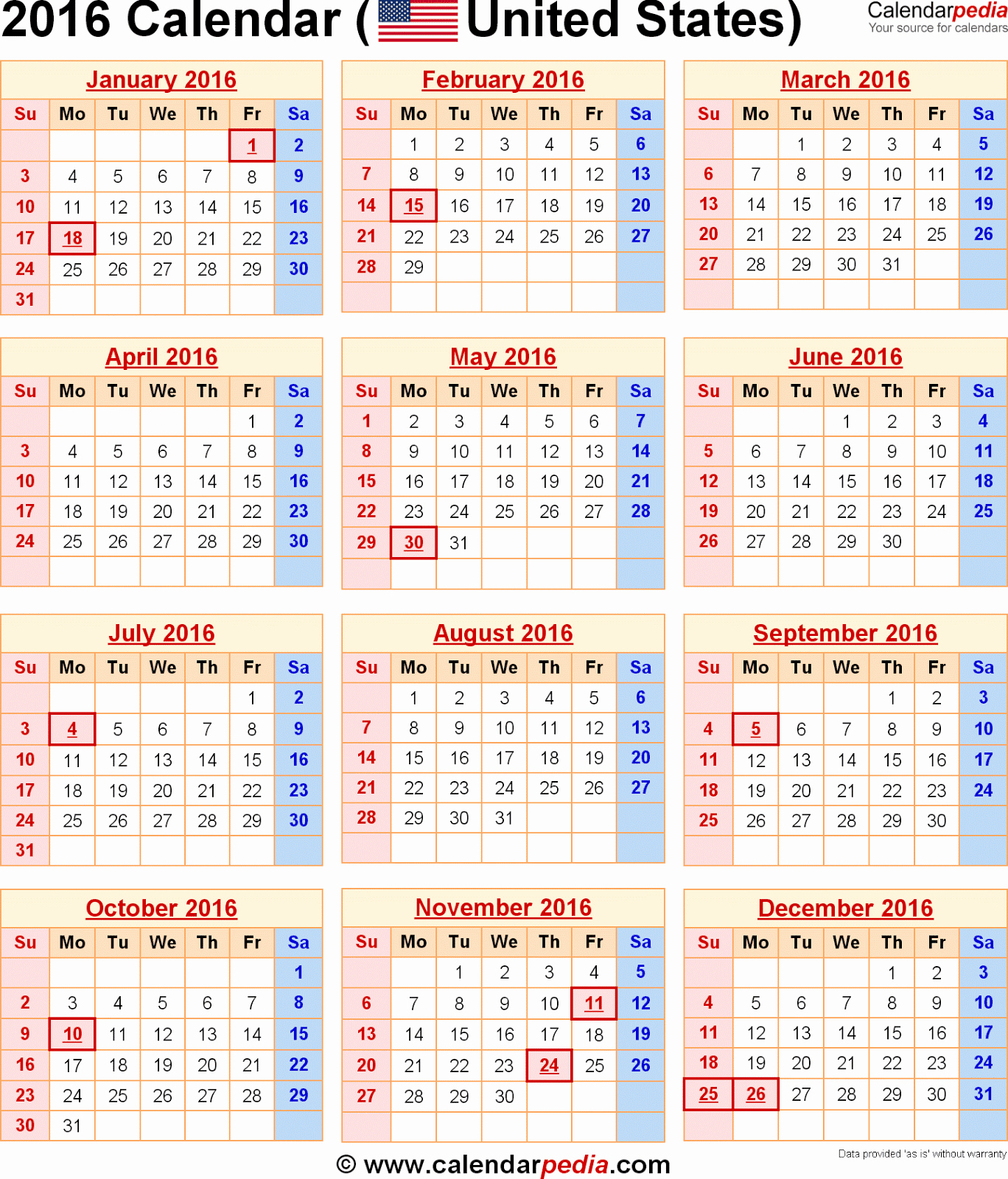 Printable 2016 Calendars with Holidays New 2016 Calendar with Federal Holidays Printable