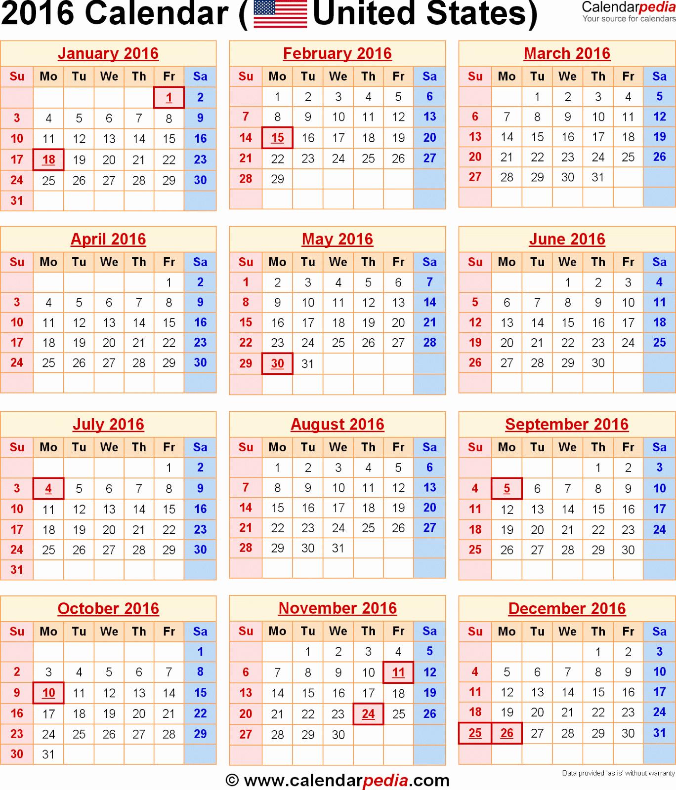 Printable 2016 Calendars with Holidays New 2016 Calendar with Federal Holidays Printable