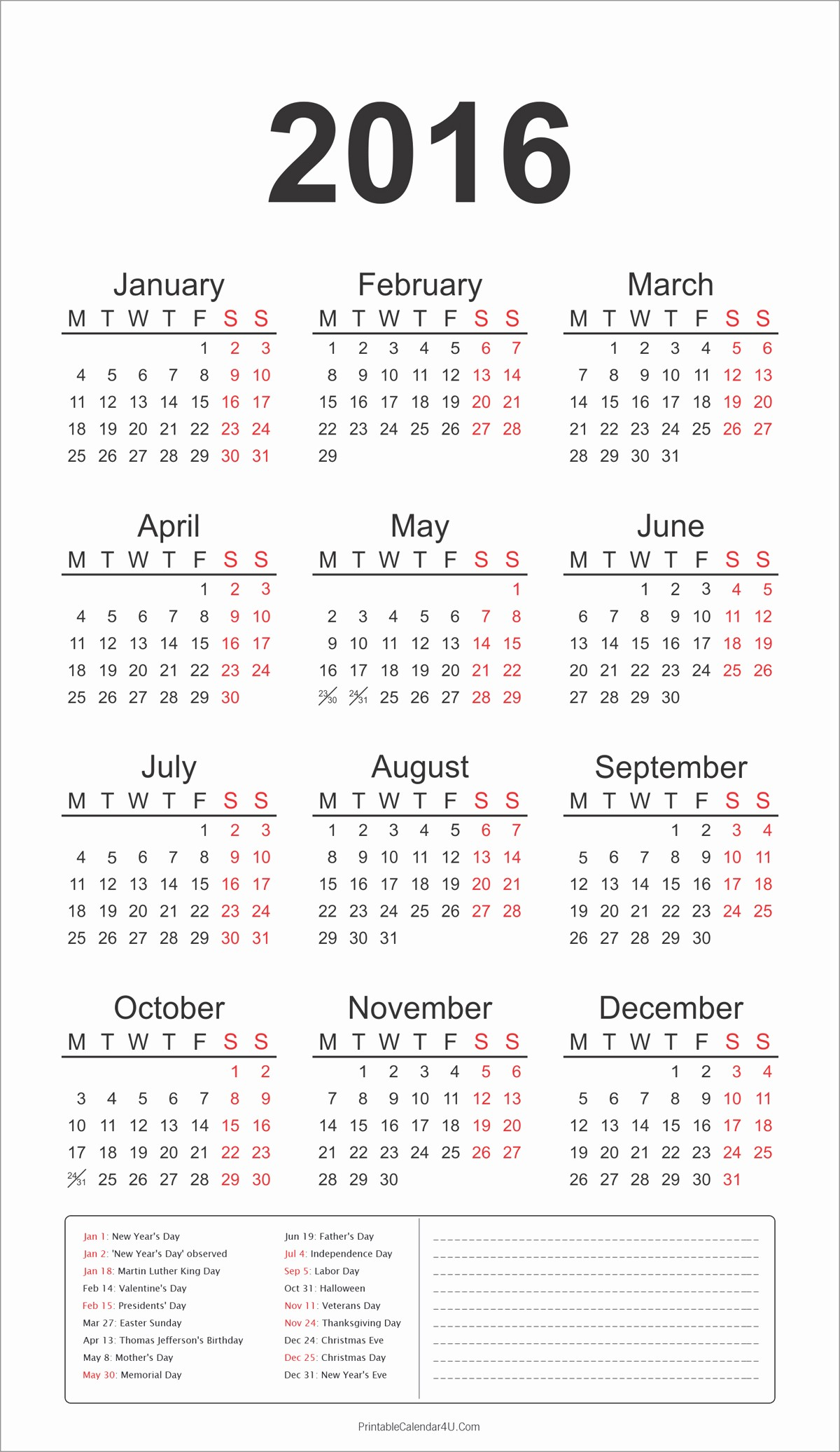 Printable 2016 Calendars with Holidays New 2016 Yearly Calendar with Holidays and Notes