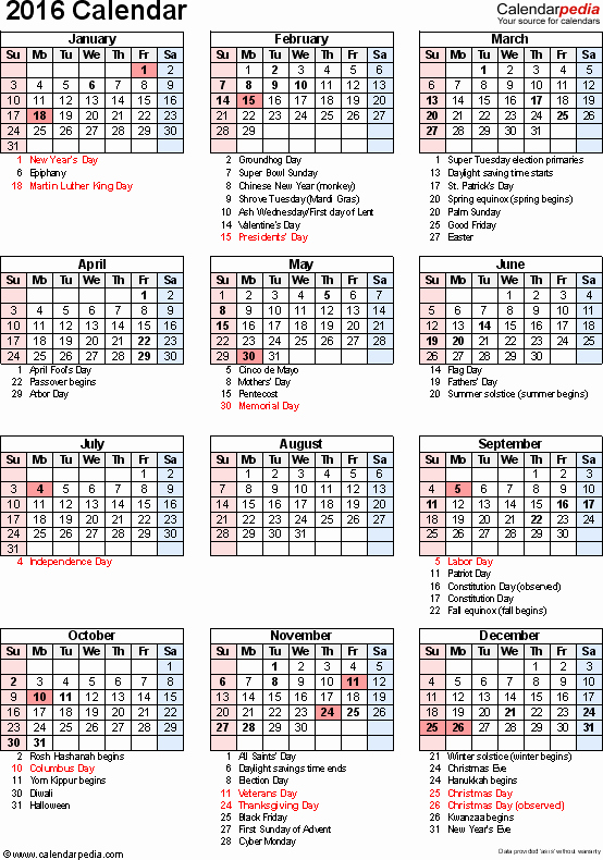 Printable 2016 Calendars with Holidays Unique Calendar 2016 with Holidays and Festival