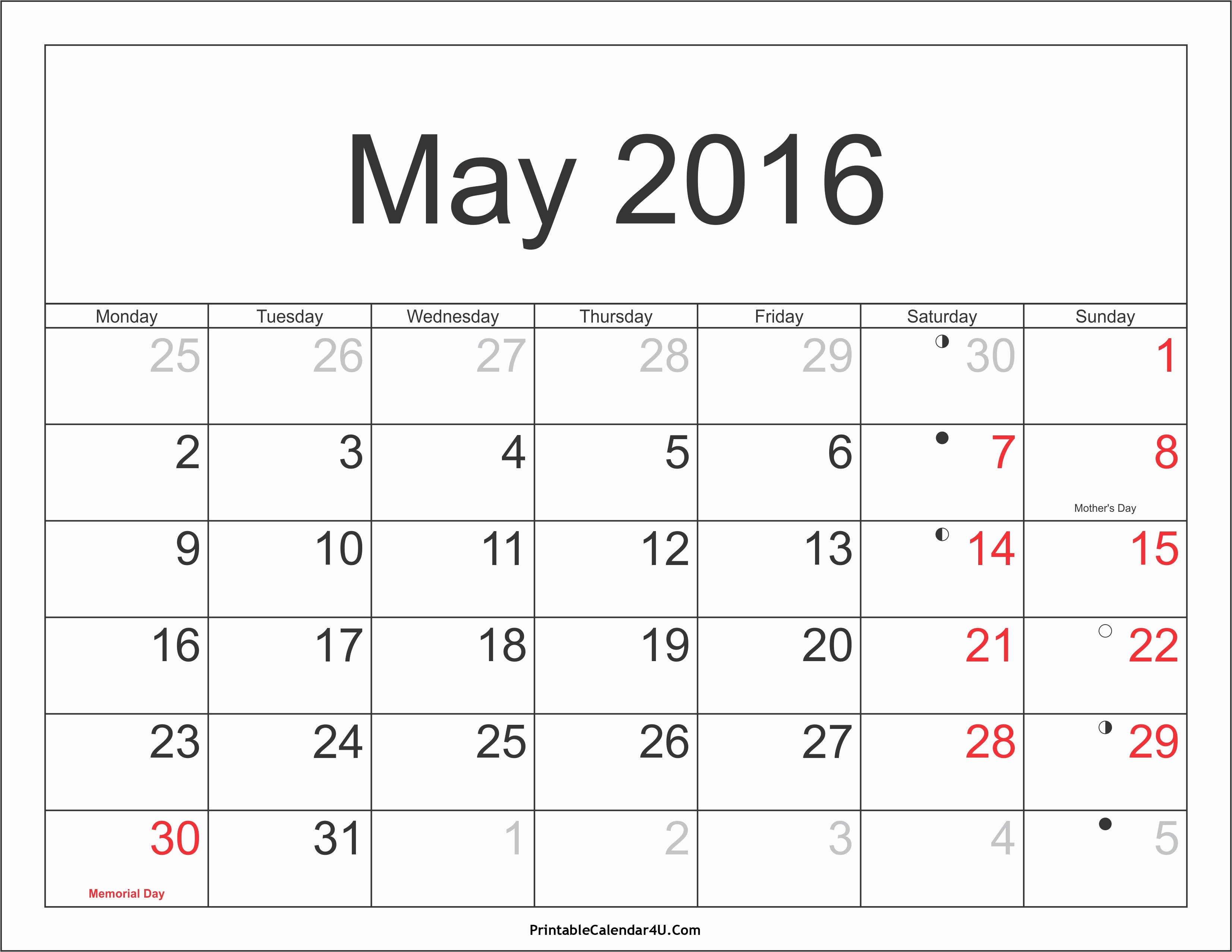 Printable 2016 Calendars with Holidays Unique May 2016 Calendar Printable with Holidays Pdf and Jpg