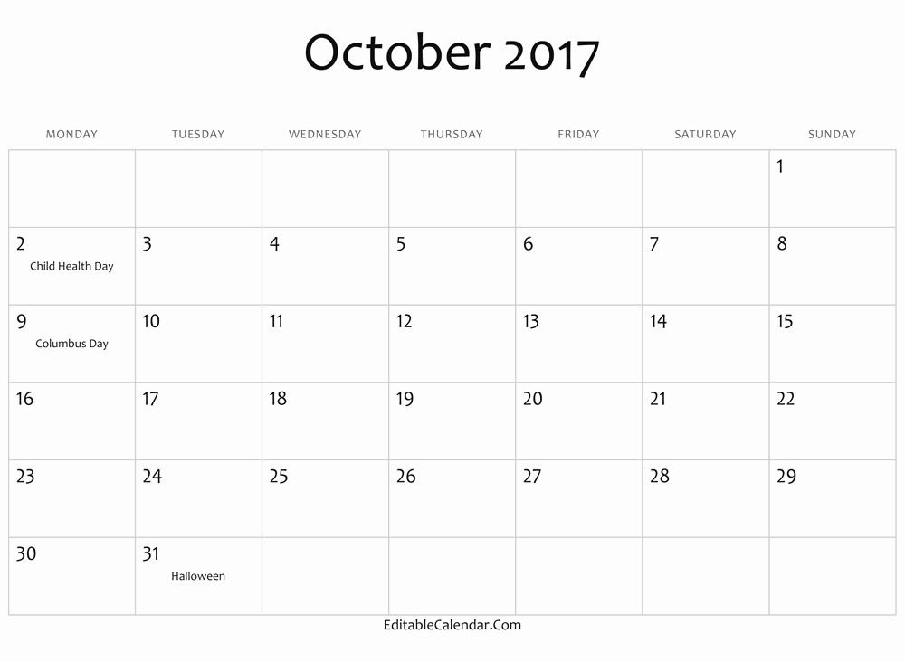 Printable 2017 Monthly Calendar Template Awesome 2017 Calendar Word