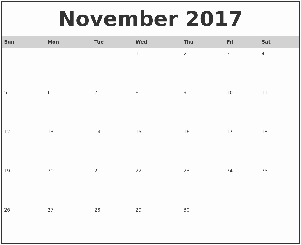 Printable 2017 Monthly Calendar Template Awesome November 2017 Monthly Calendar Printable