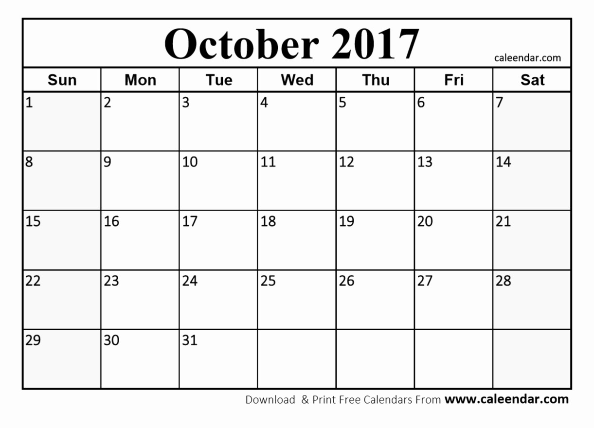 Printable 2017 Monthly Calendar Template Awesome October 2017 Calendar Pdf