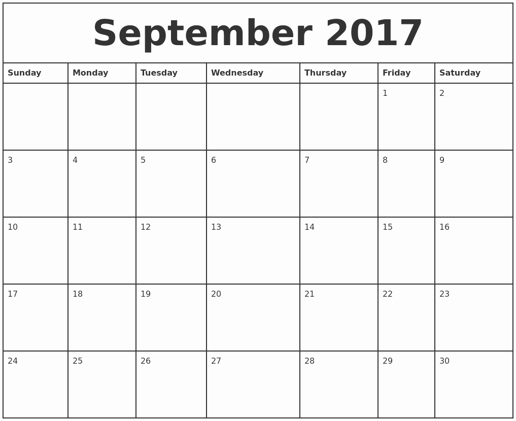 Printable 2017 Monthly Calendar Template Beautiful September 2017 Printable Monthly Calendar
