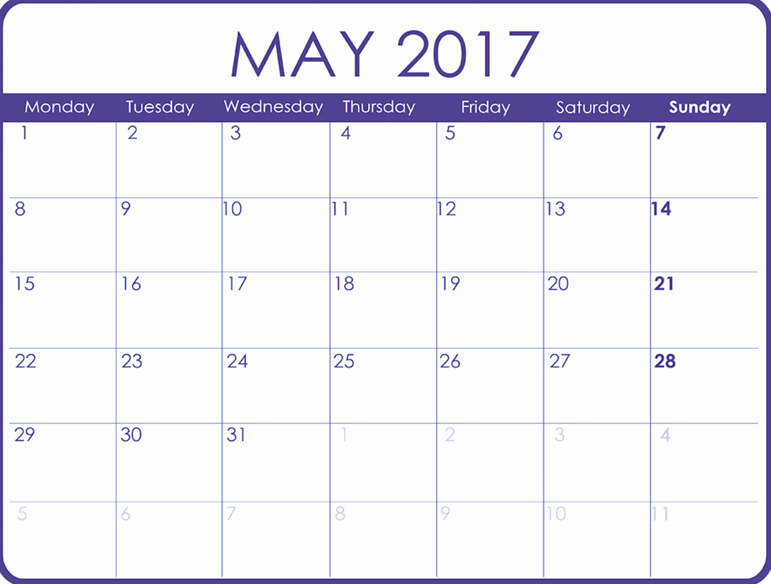 Printable 2017 Monthly Calendar Template Best Of May 2017 Printable Calendar Template Holidays Excel