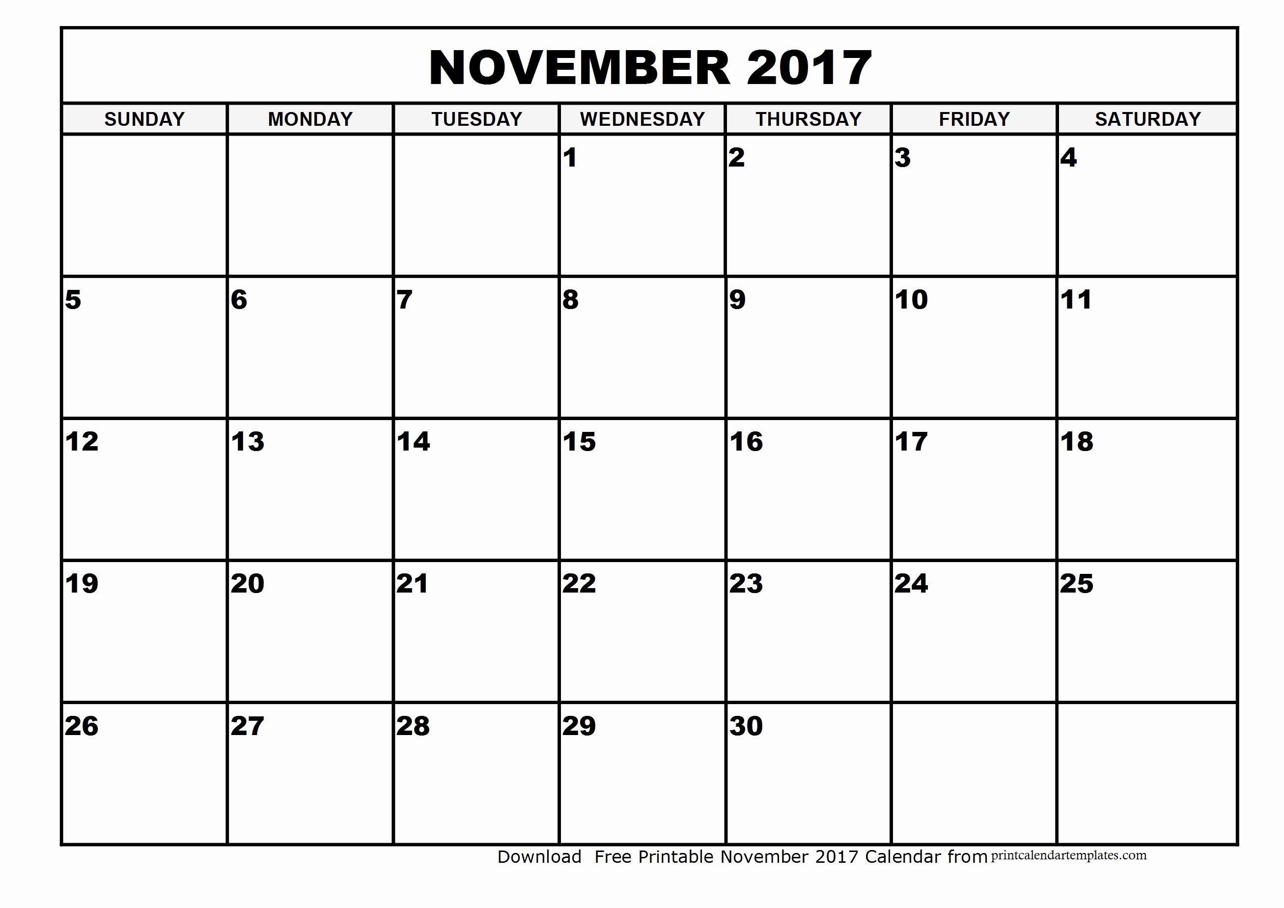 Printable 2017 Monthly Calendar Template Best Of November 2017 Calendar Template