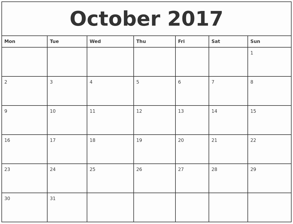 Printable 2017 Monthly Calendar Template Best Of October 2017 Printable Monthly Calendar