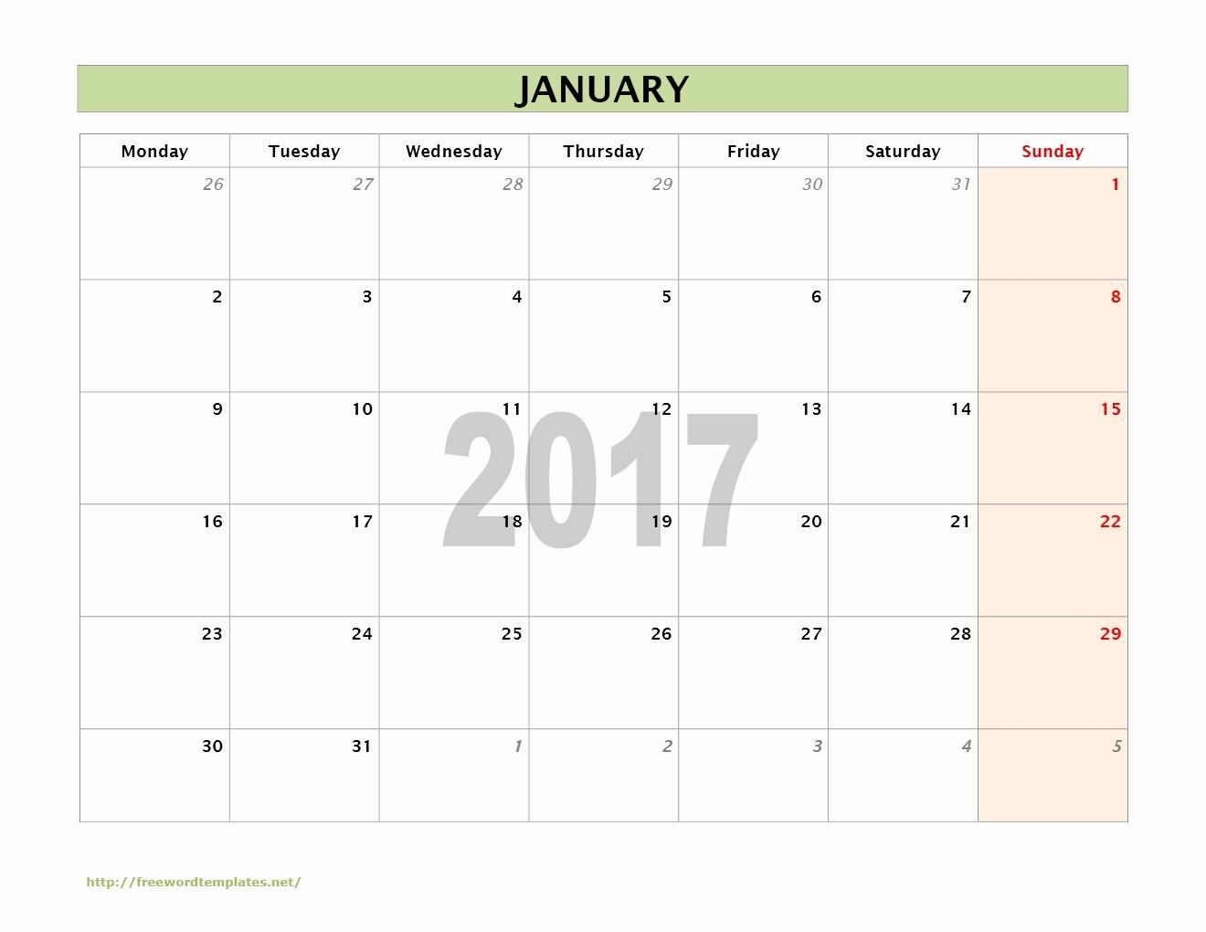 Printable 2017 Monthly Calendar Template Fresh 2017 Monthly Calendar Template Word