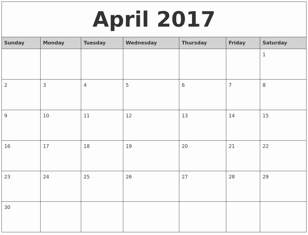 Printable 2017 Monthly Calendar Template Fresh April 2017 Monthly Calendar Printable