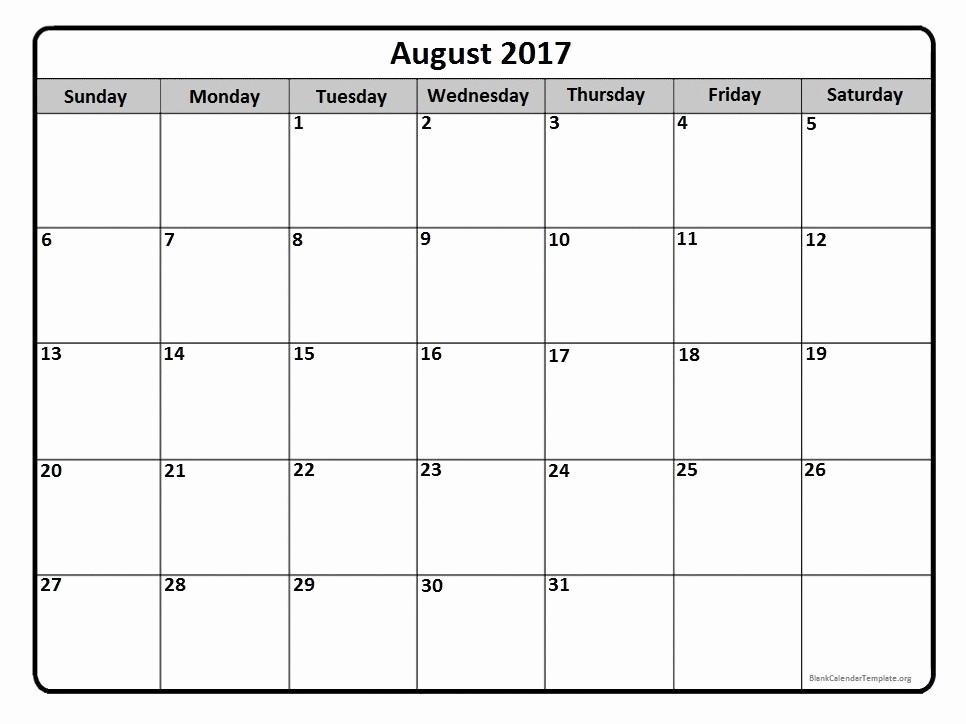 Printable 2017 Monthly Calendar Template Fresh August 2017 Calendar August 2017 Calendar Printable