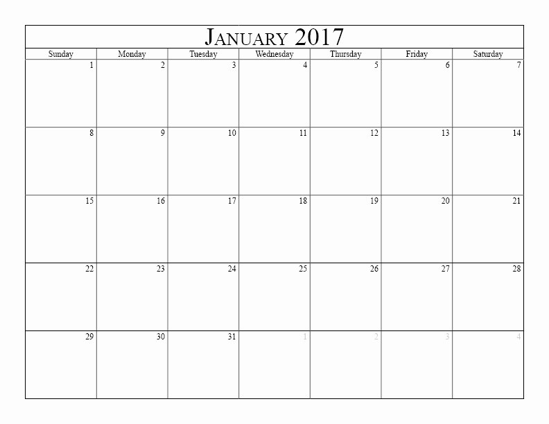 Printable 2017 Monthly Calendar Template Fresh Blank Monthly Calendar 2017