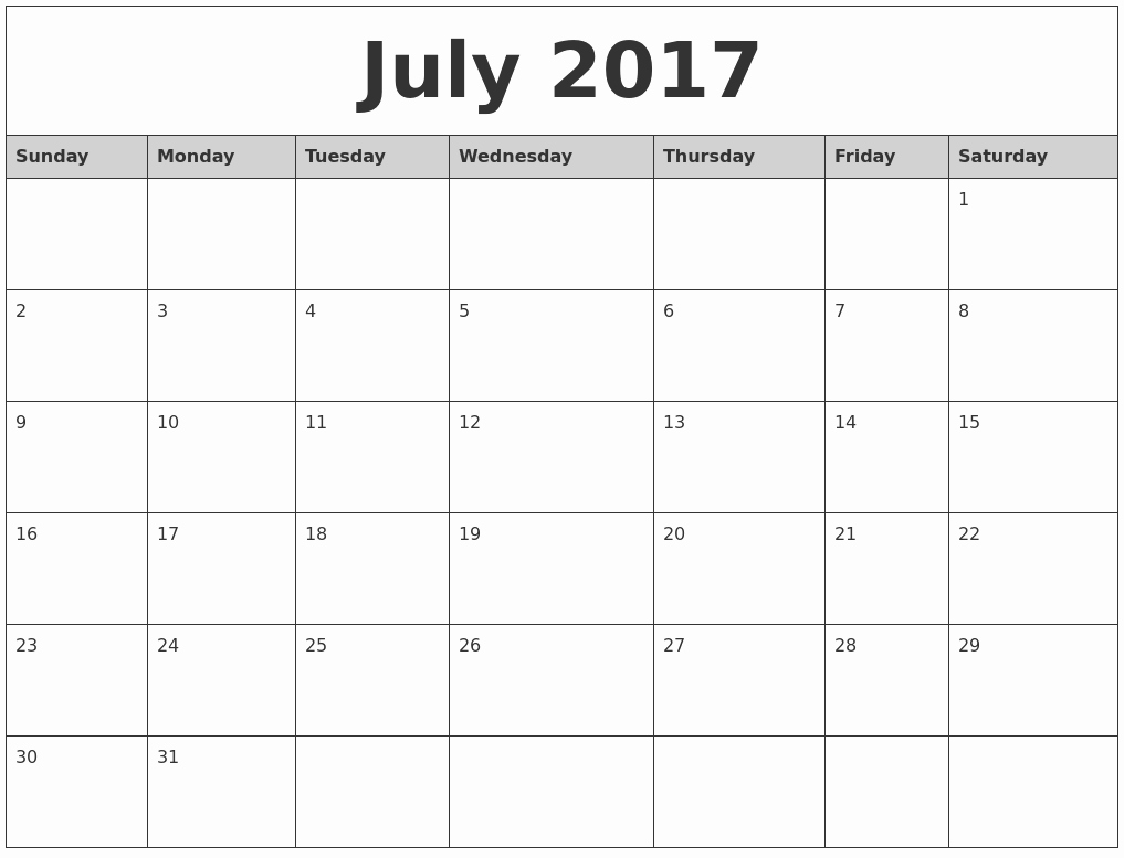 Printable 2017 Monthly Calendar Template Fresh July 2017 Monthly Calendar Printable