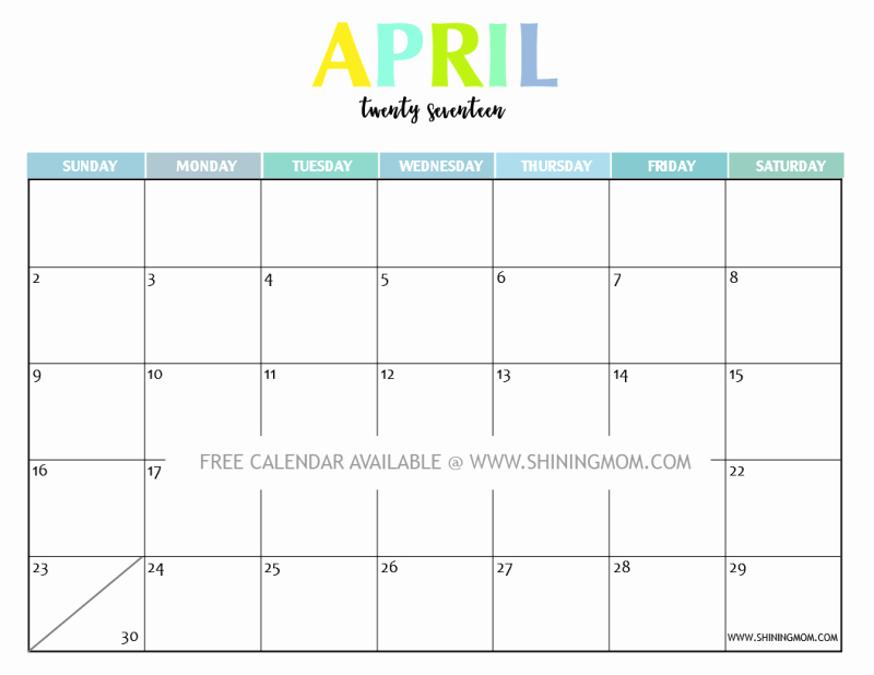 Printable 2017 Monthly Calendar Template Inspirational Your Free 2017 Printable Calendar Fun and Colorful