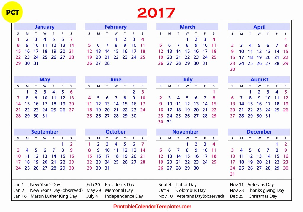 Printable 2017 Monthly Calendar Template Lovely 2017 Calendar with Holidays