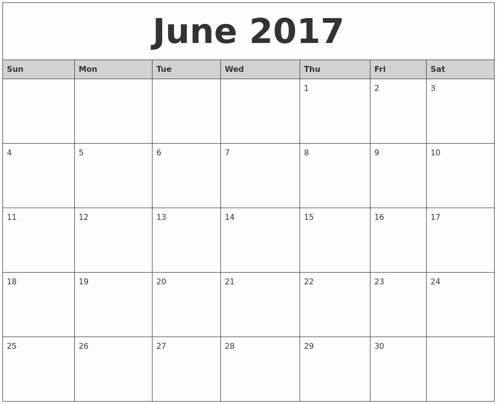 Printable 2017 Monthly Calendar Template Luxury June 2017 Monthly Calendar Printable