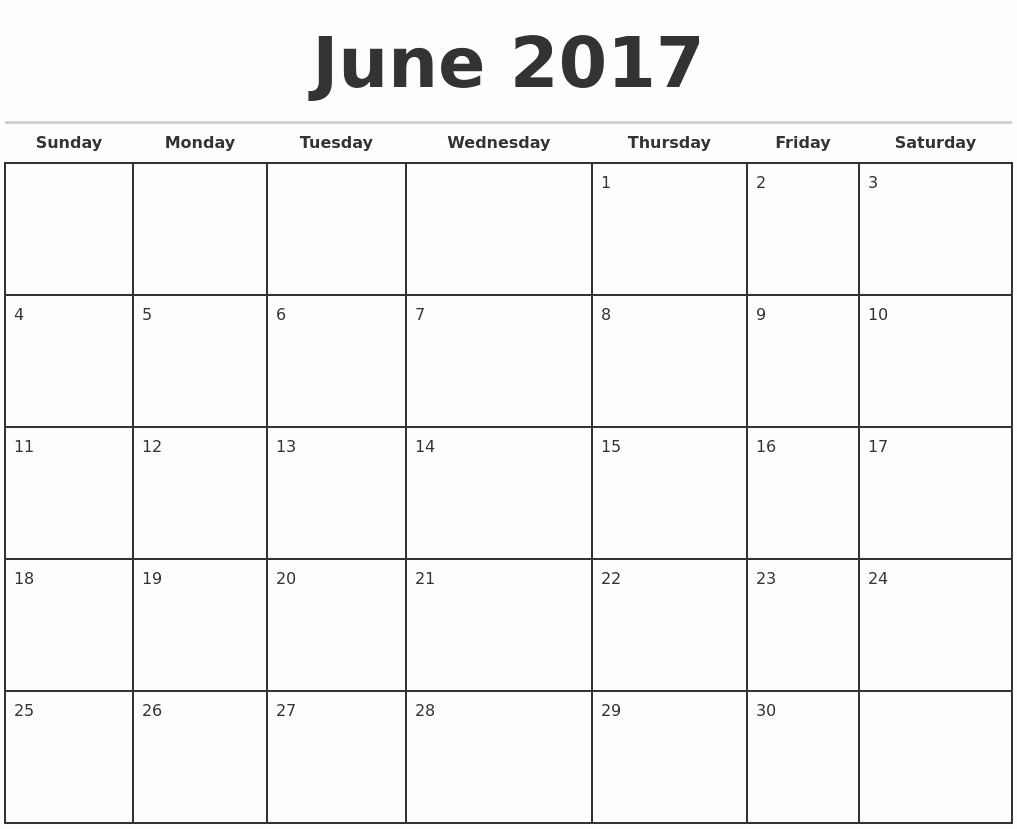 Printable 2017 Monthly Calendar Template Luxury June 2017 Monthly Calendar Template
