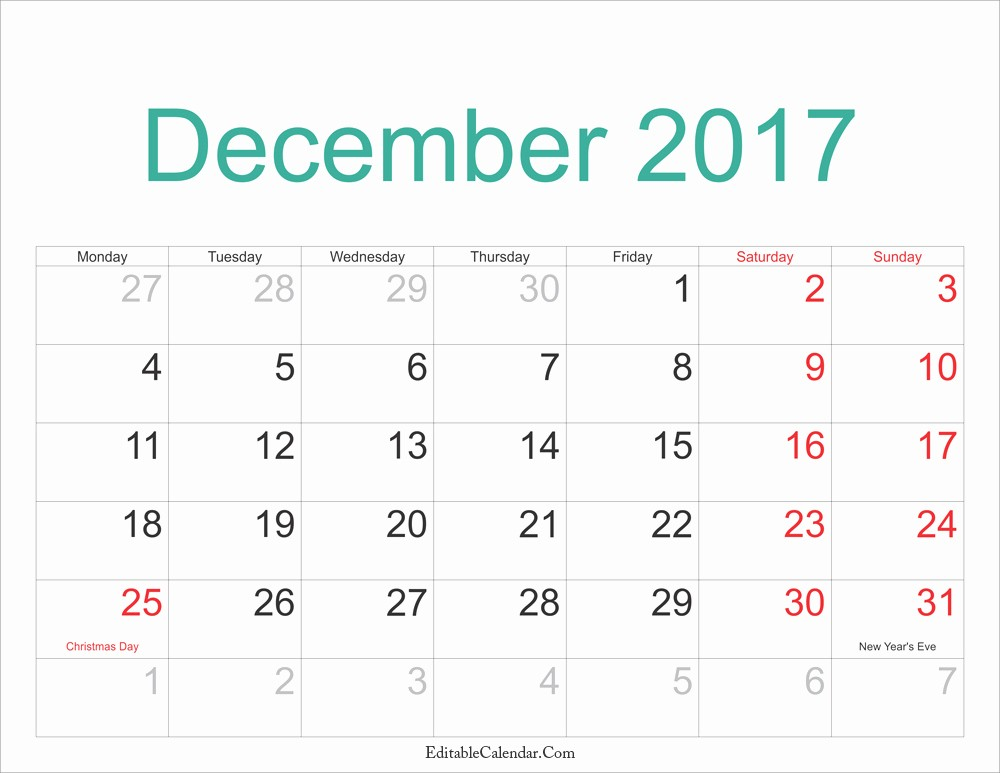 Printable 2017 Monthly Calendar Template New December Calendar 2017 Pdf Printable Monthly Calendar 2017