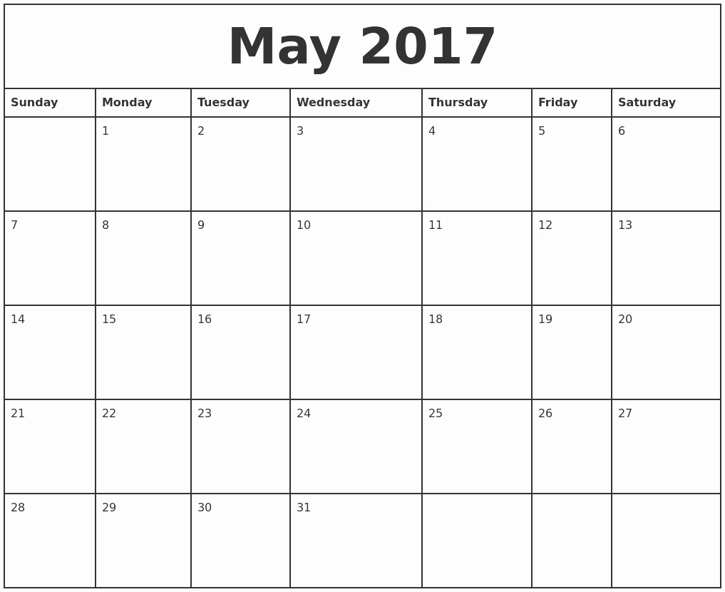Printable 2017 Monthly Calendar Template New Printable Calendar 2017 Monthly May
