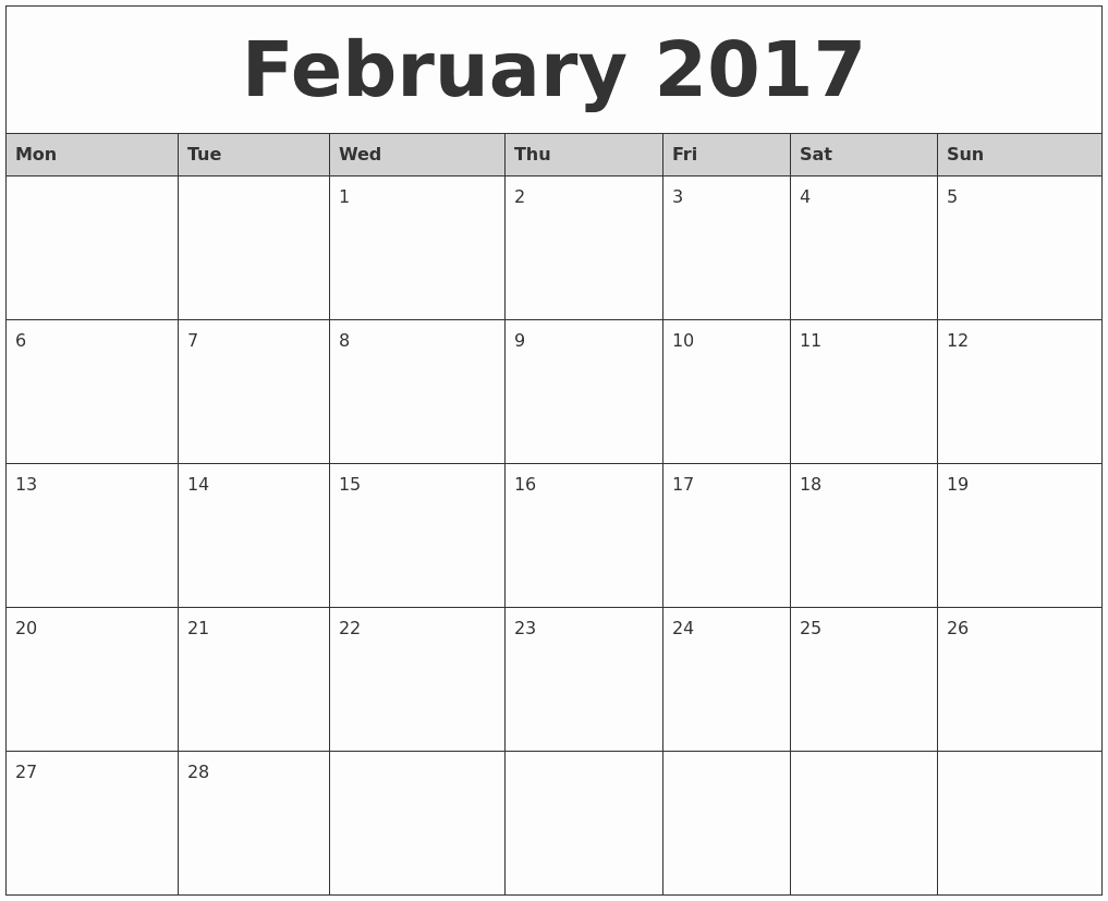 Printable 2017 Monthly Calendar Template Unique February 2017 Monthly Calendar Printable