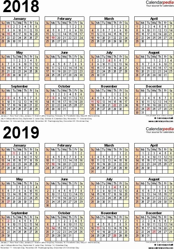 Printable 2018 and 2019 Calendar Awesome Free Printable Three Year Calendar 2018 2019 Free