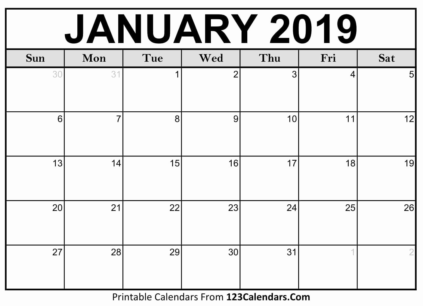 Printable 2018 and 2019 Calendar Awesome Printable 2018 Calendar 123calendars
