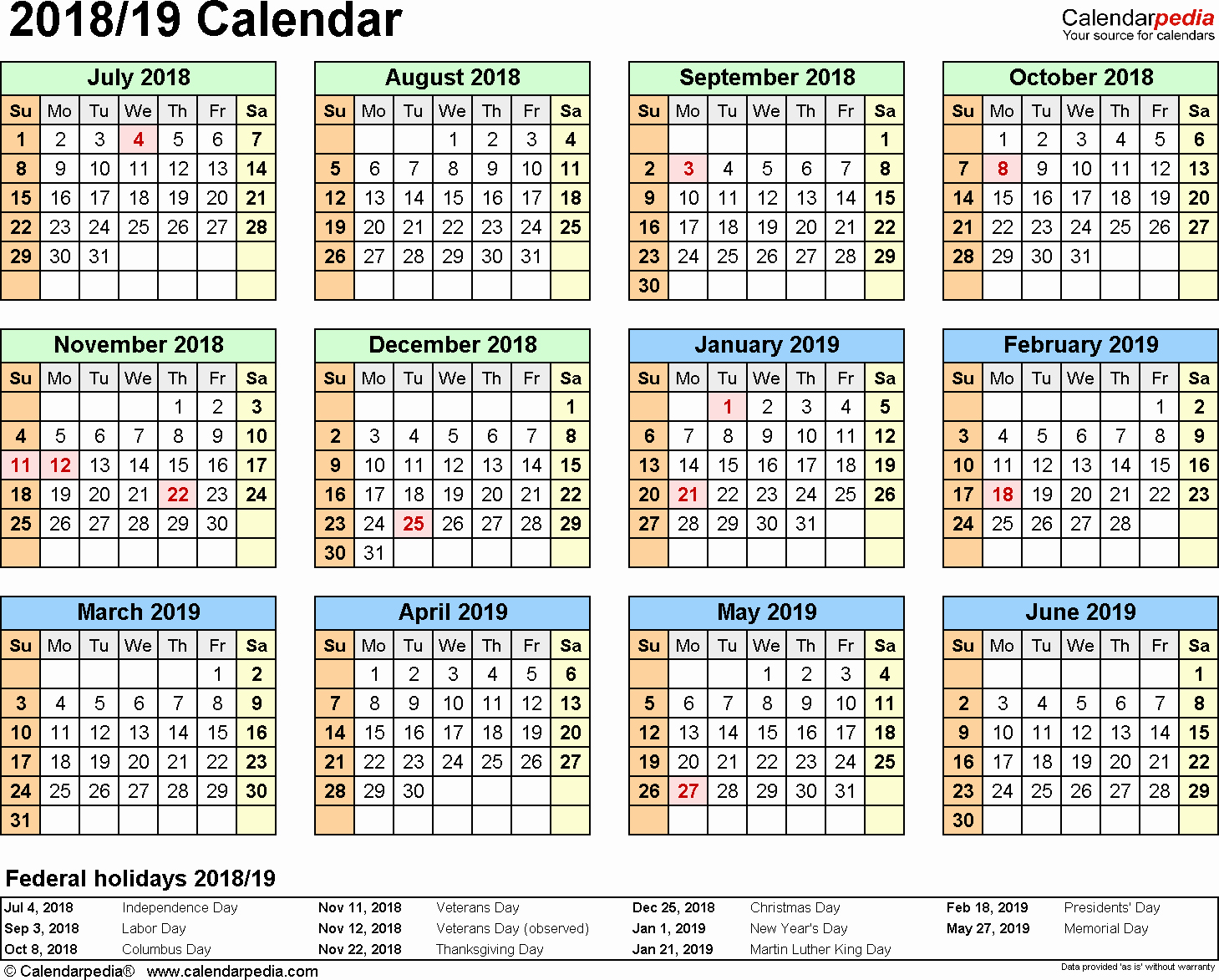 Printable 2018 and 2019 Calendar Awesome Split Year Calendar 2018 19 July to June Pdf Templates