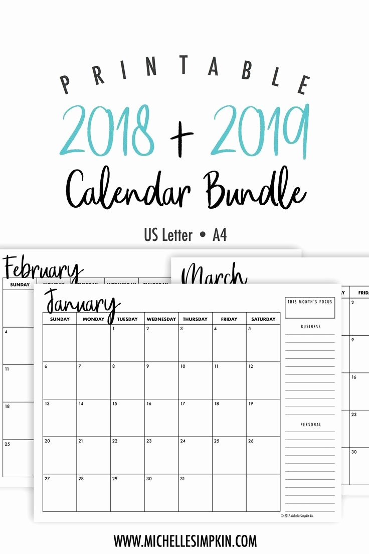 Printable 2018 and 2019 Calendar Beautiful 2018 2019 Calendar Monthly Calendar Printable Calendar