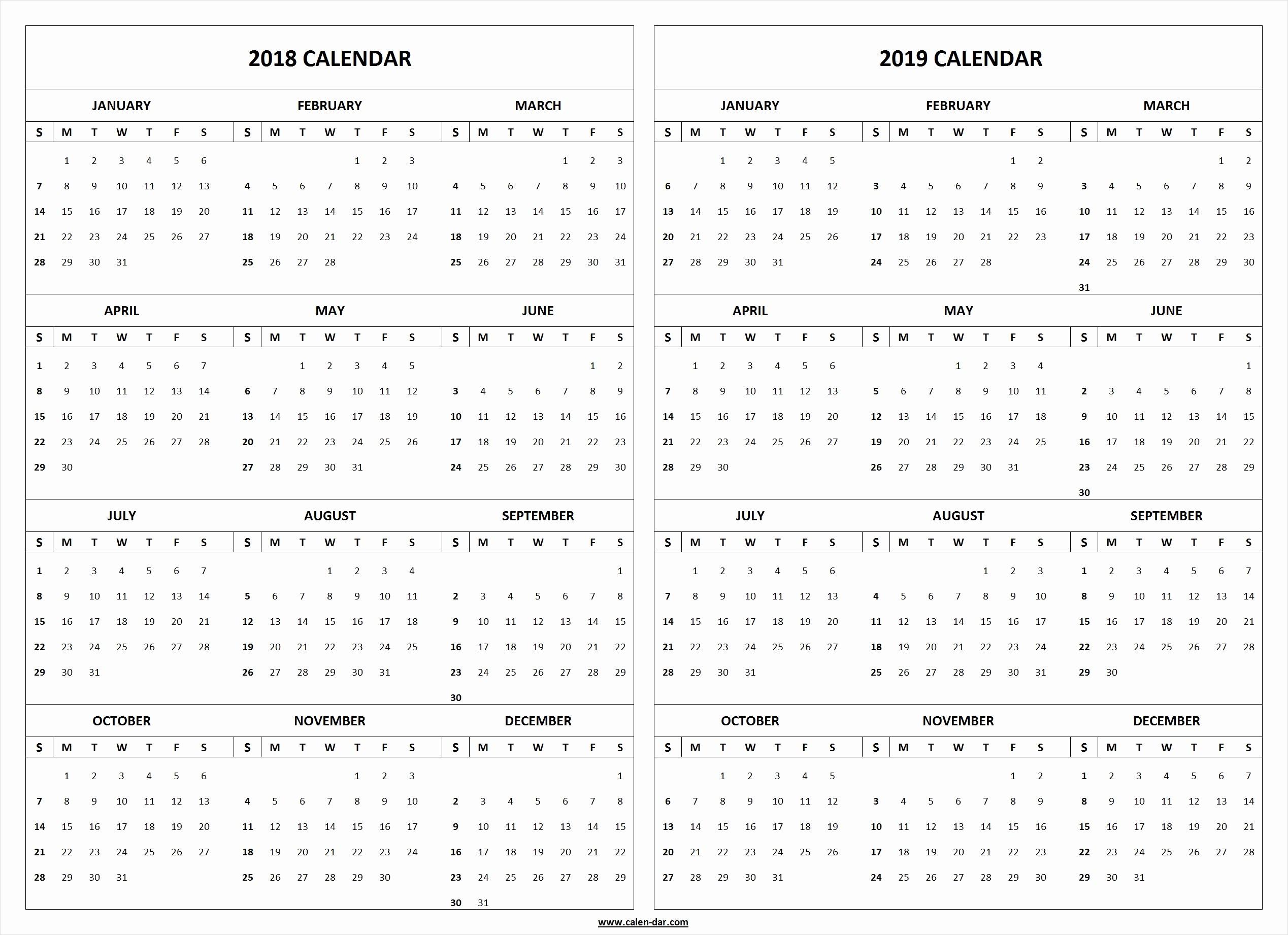 Printable 2018 and 2019 Calendar Beautiful 2018 2019 Calendar Printable Template