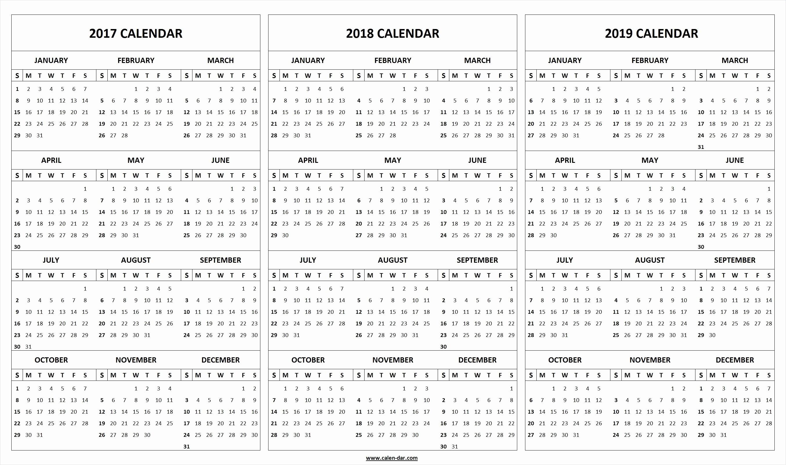Printable 2018 and 2019 Calendar Beautiful Get Free Blank Printable 2017 2018 2019 Calendar Template