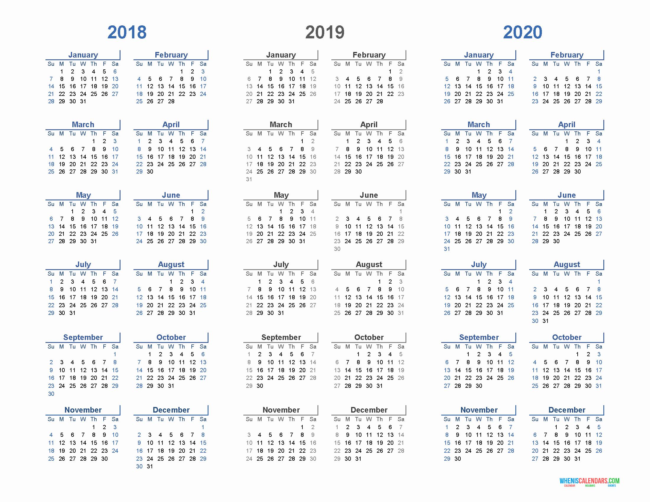 Printable 2018 and 2019 Calendar Beautiful Printable Calendar 2018 2019 and 2020 3 Year Calendar
