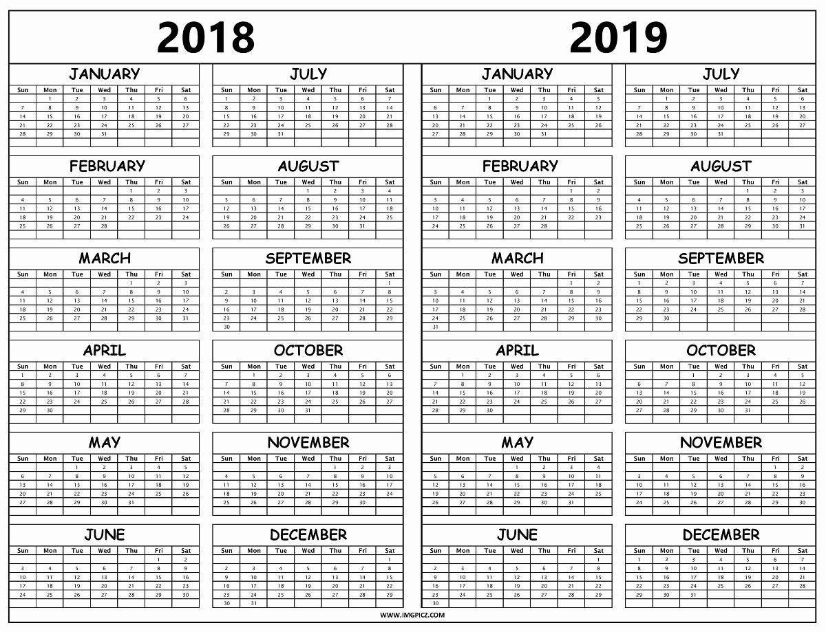 Printable 2018 and 2019 Calendar Best Of 2018 and 2019 Calendar Printable