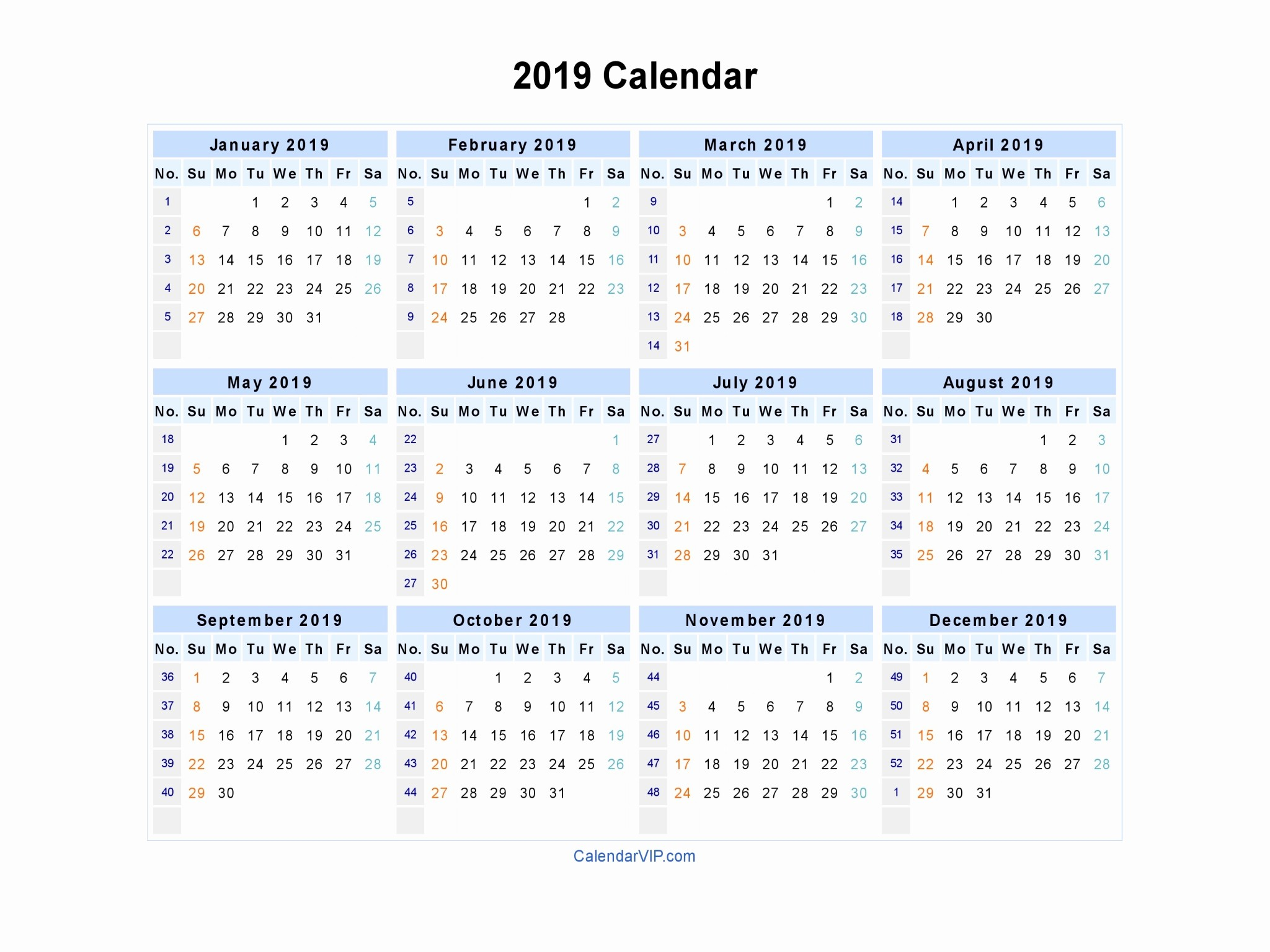 Printable 2018 and 2019 Calendar Elegant 2019 Calendar