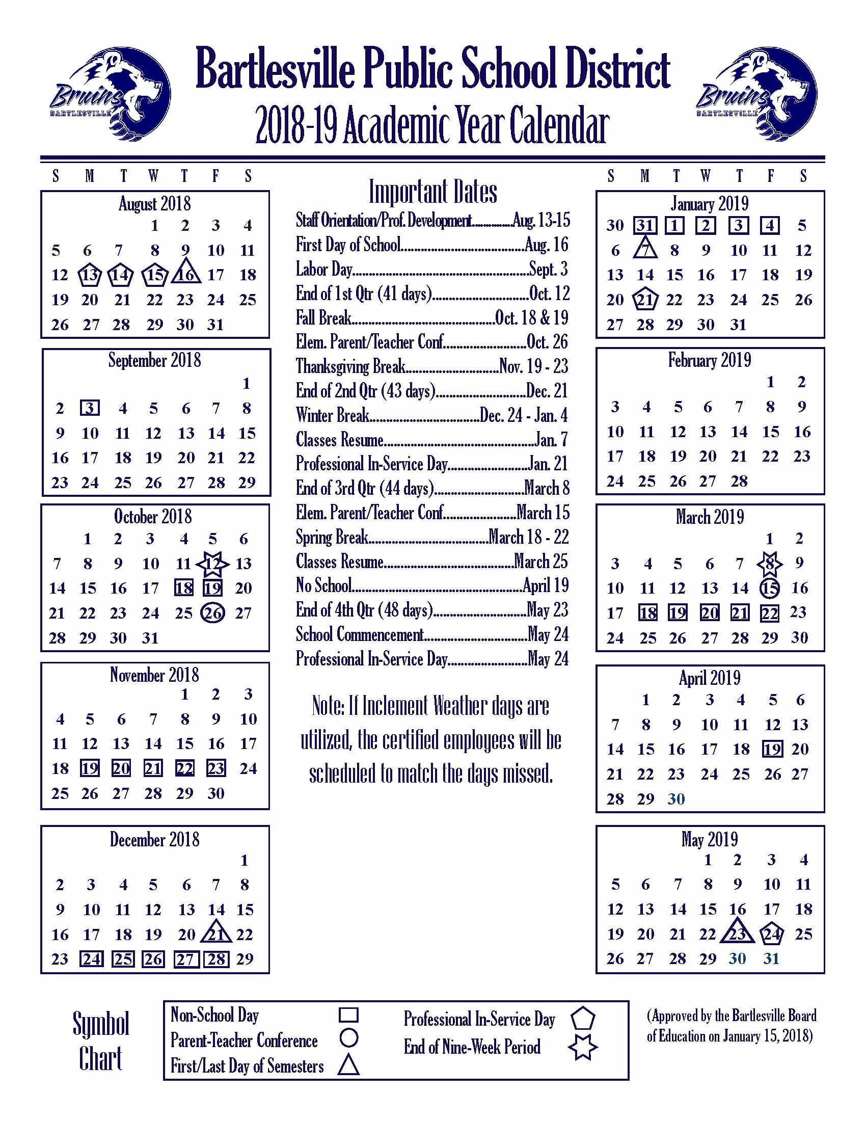 Printable 2018 and 2019 Calendar Elegant Academic Year Calendars Bartlesville Public Schools