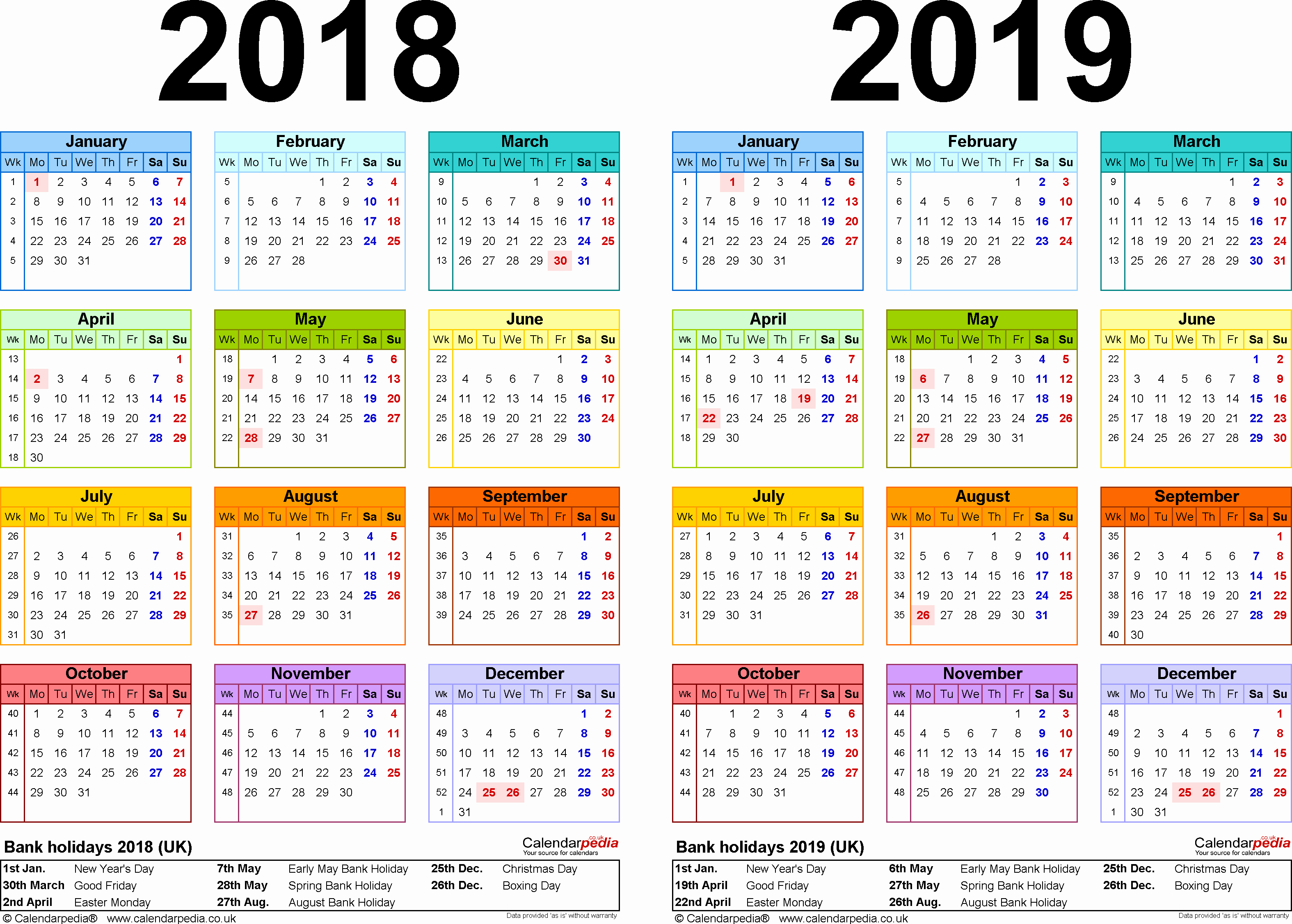 Printable 2018 and 2019 Calendar Elegant Two Year Calendars for 2018 & 2019 Uk for Word