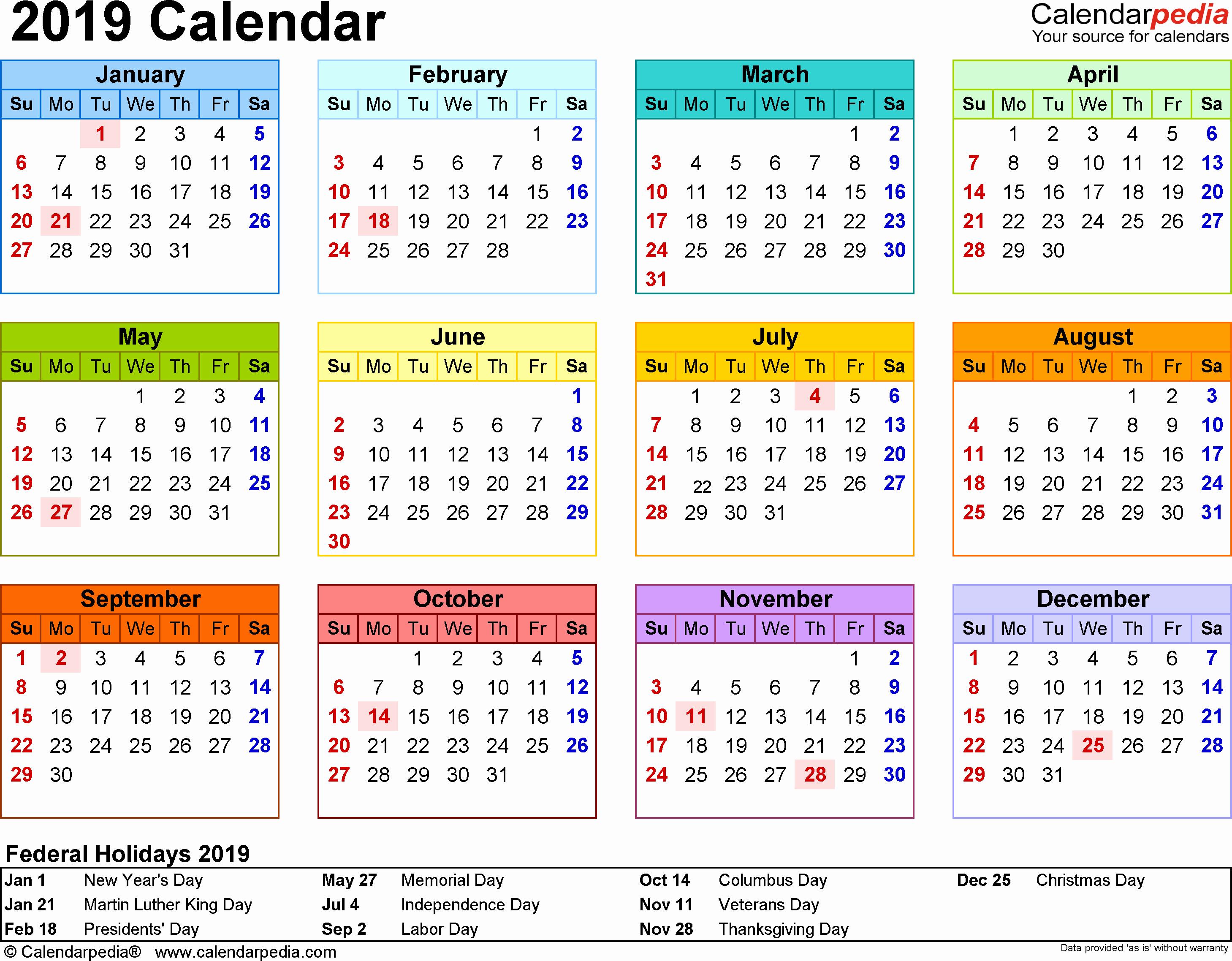 Printable 2018 and 2019 Calendar Inspirational 2019 Calendar Printable