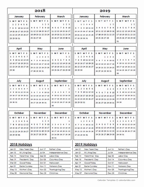 Printable 2018 and 2019 Calendar Inspirational Two Year Calendar Template 2018 and 2019 Free Printable