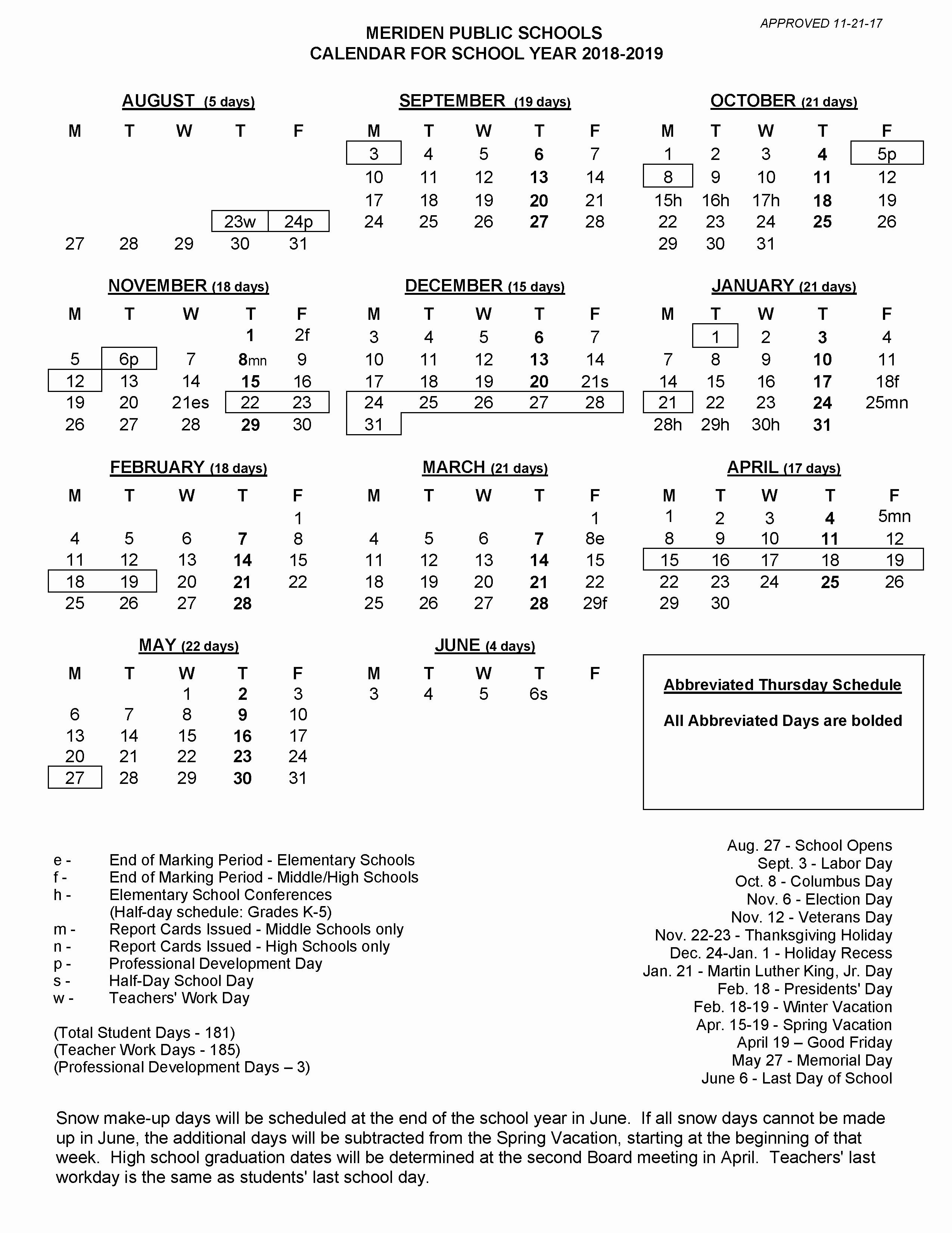 Printable 2018 and 2019 Calendar Lovely 2018 2019 School Calendar