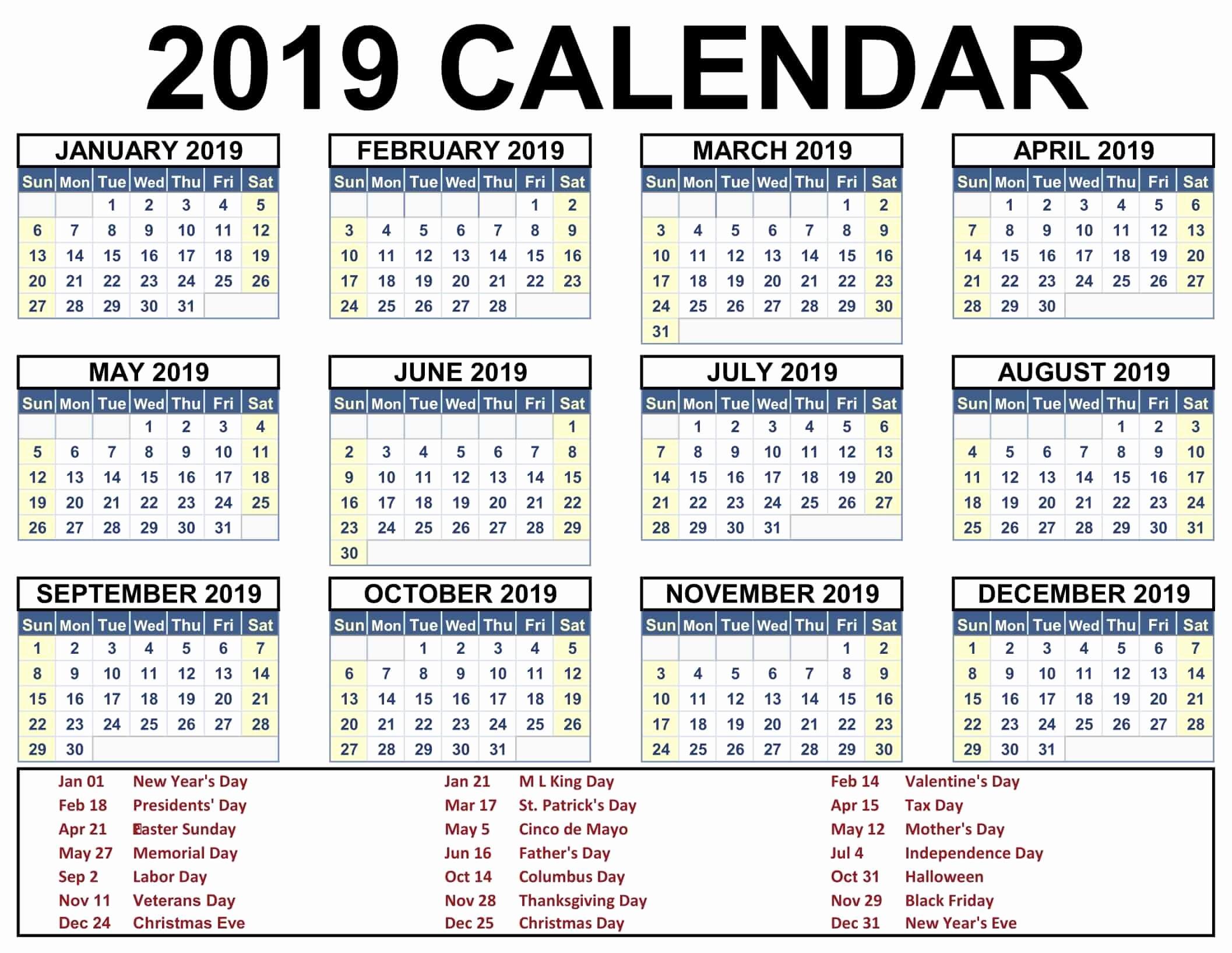 Printable 2018 and 2019 Calendar Lovely 2019 Calendar Holidays Usa India Uk Canada Australia