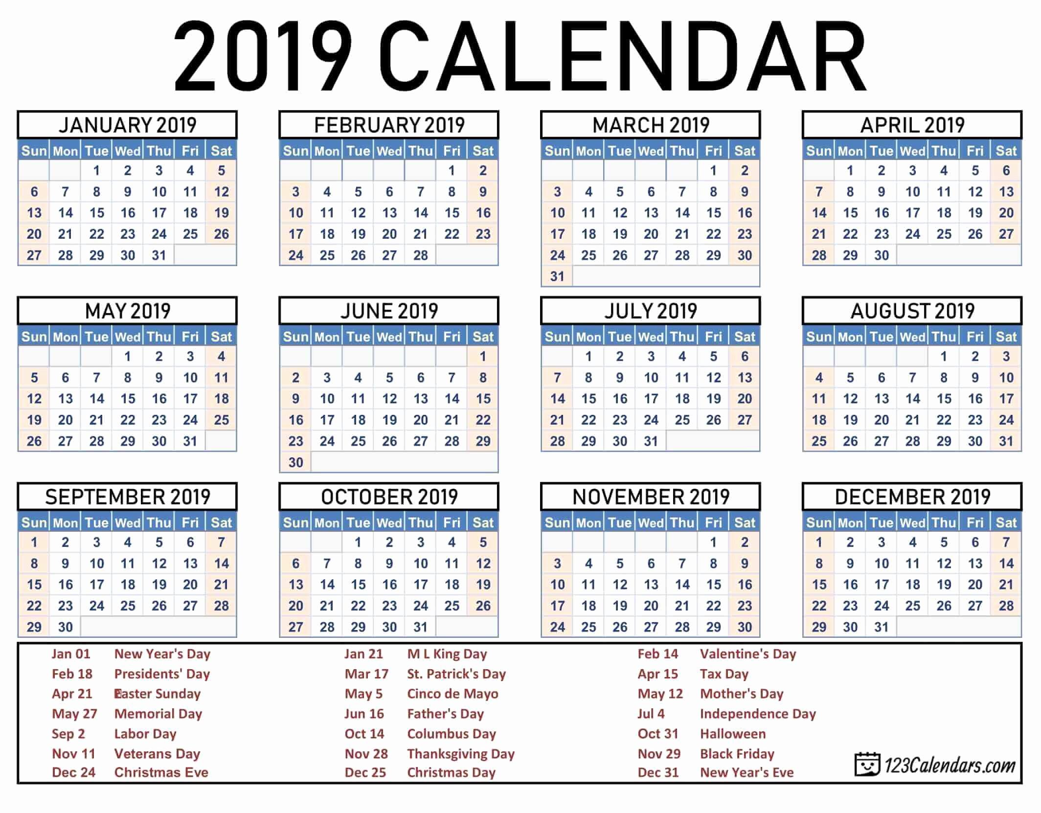 Printable 2018 and 2019 Calendar Lovely 2019 Printable Calendar 123calendars