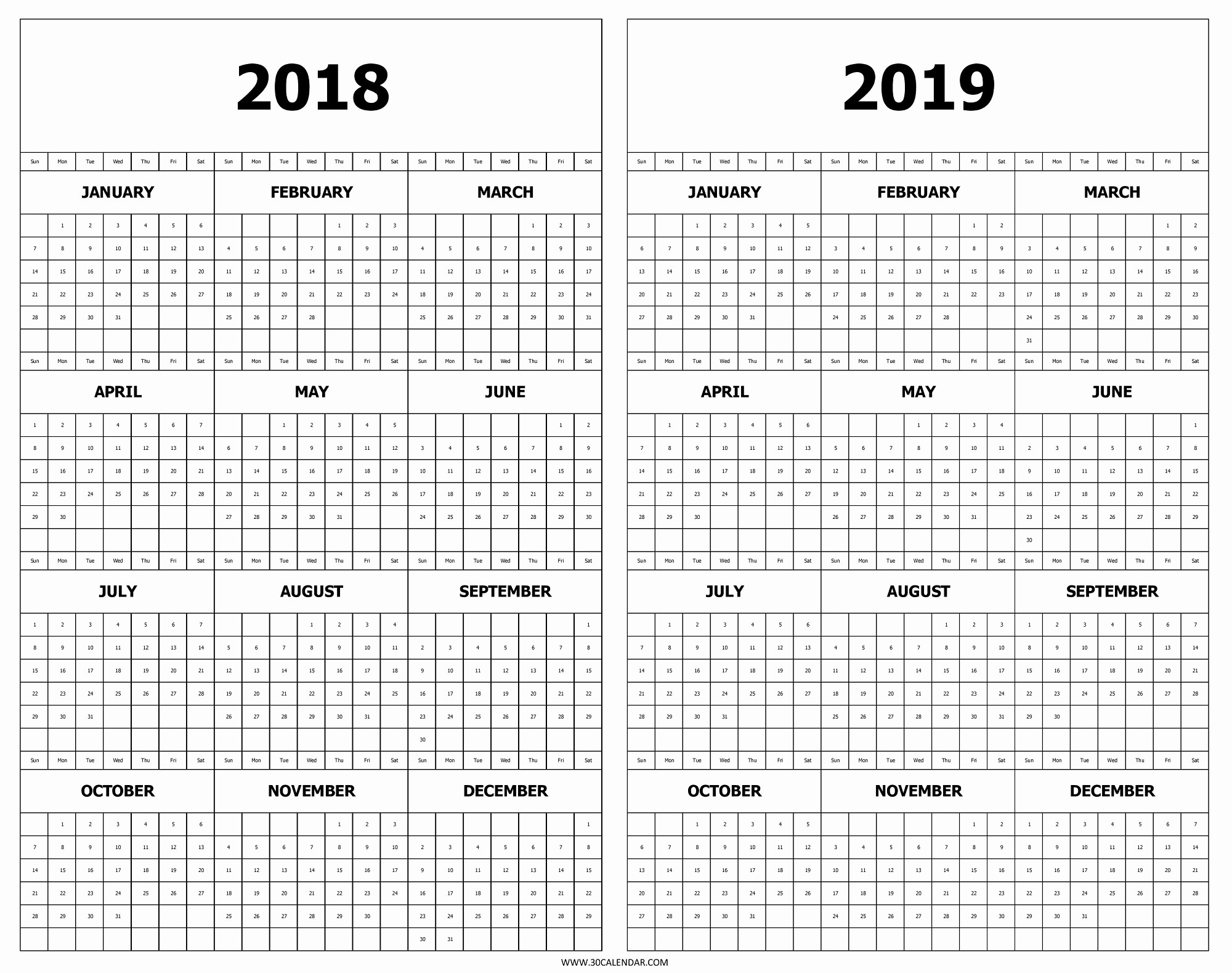 Printable 2018 and 2019 Calendar Luxury Calendar 2018 and 2019 Printable Free