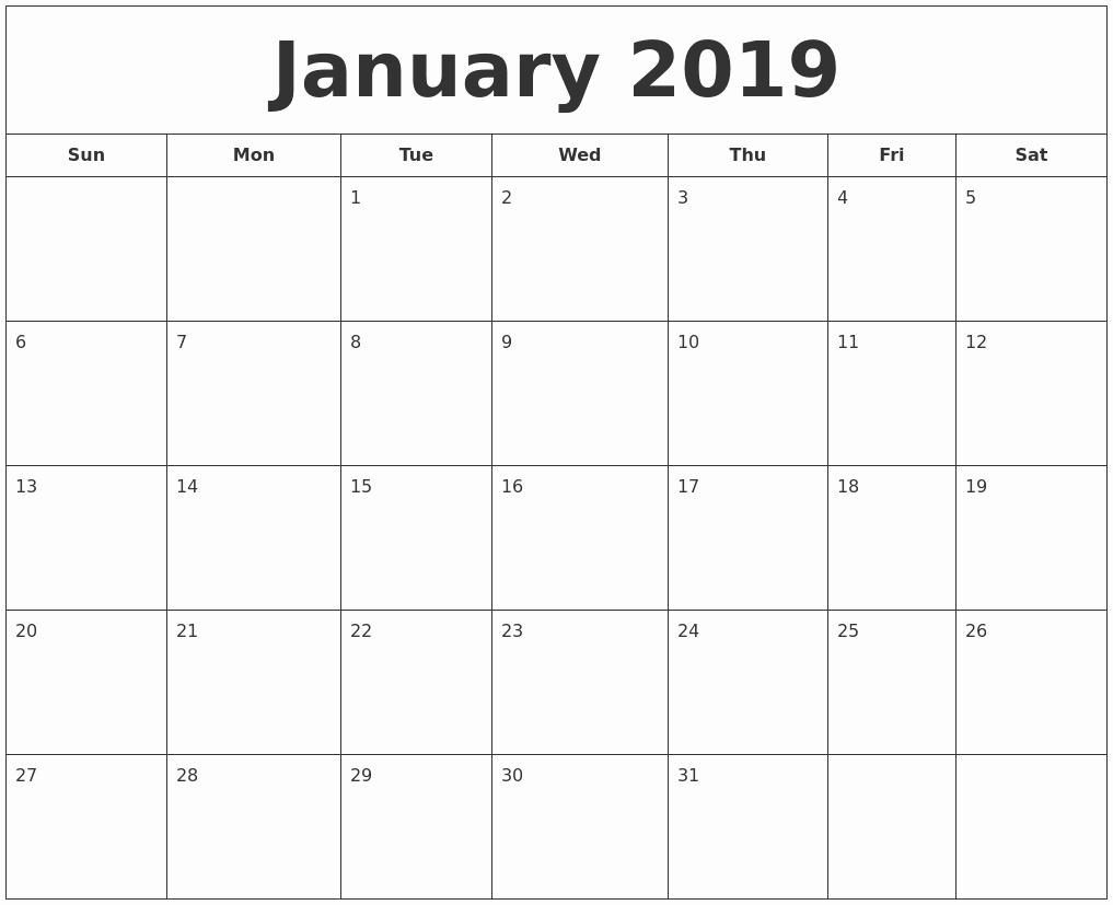 Printable 2018 and 2019 Calendar New January 2019 Printable Calendar