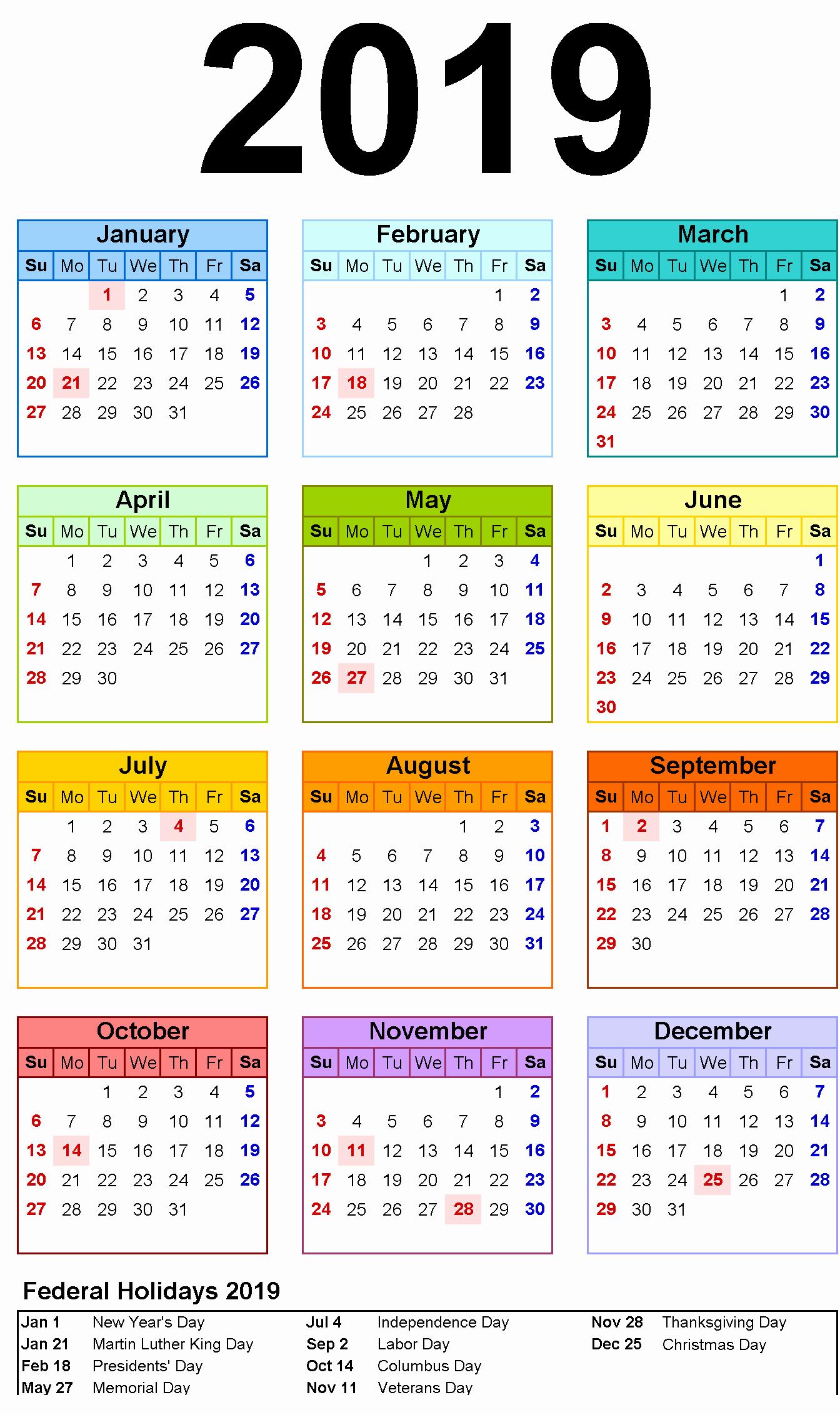 Printable 2018 and 2019 Calendar Unique Free Printable Calendar 2019 Template with Usa Holidays